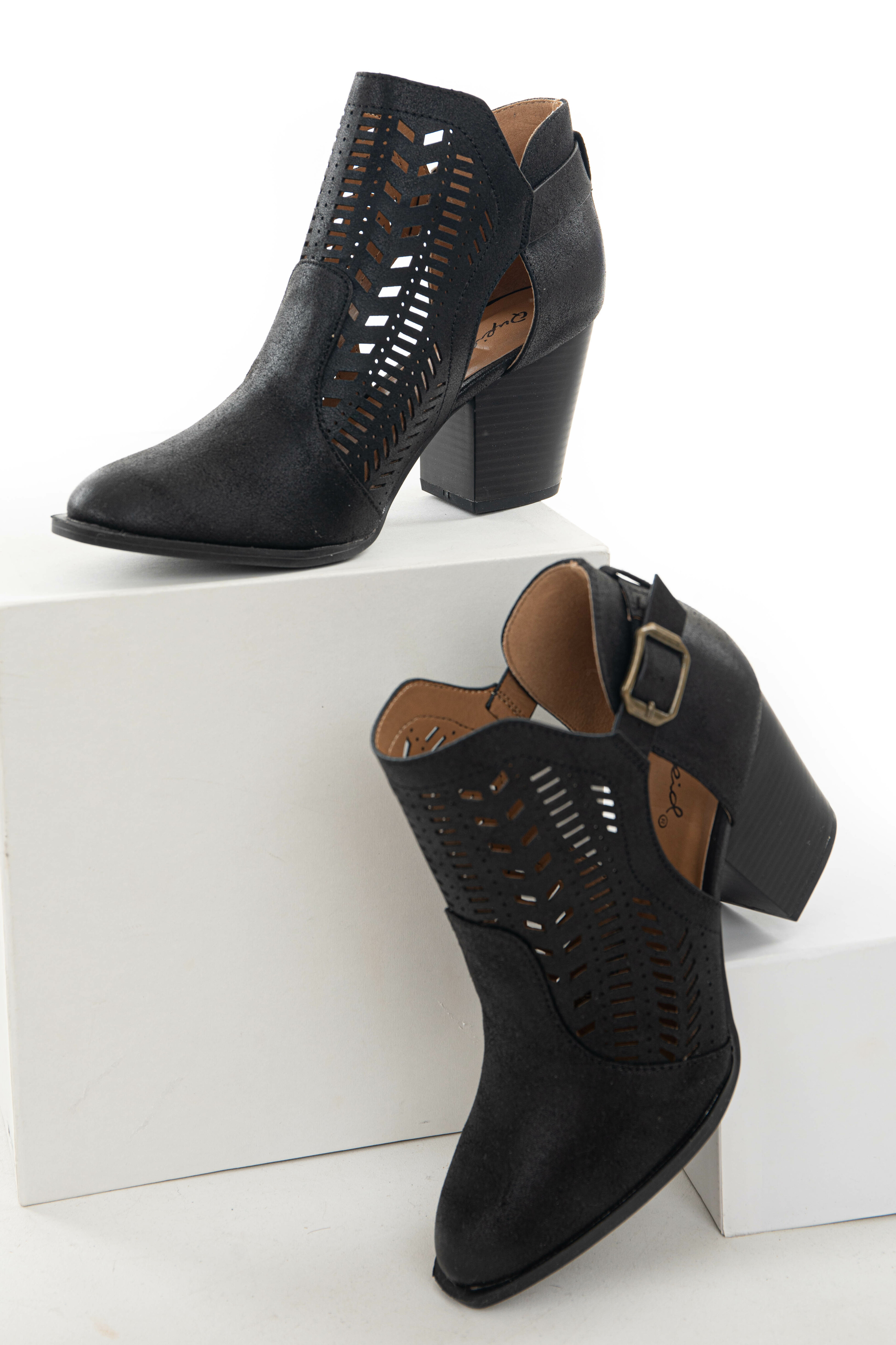 Black Faux Leather Heeled Bootie with Cutout Details