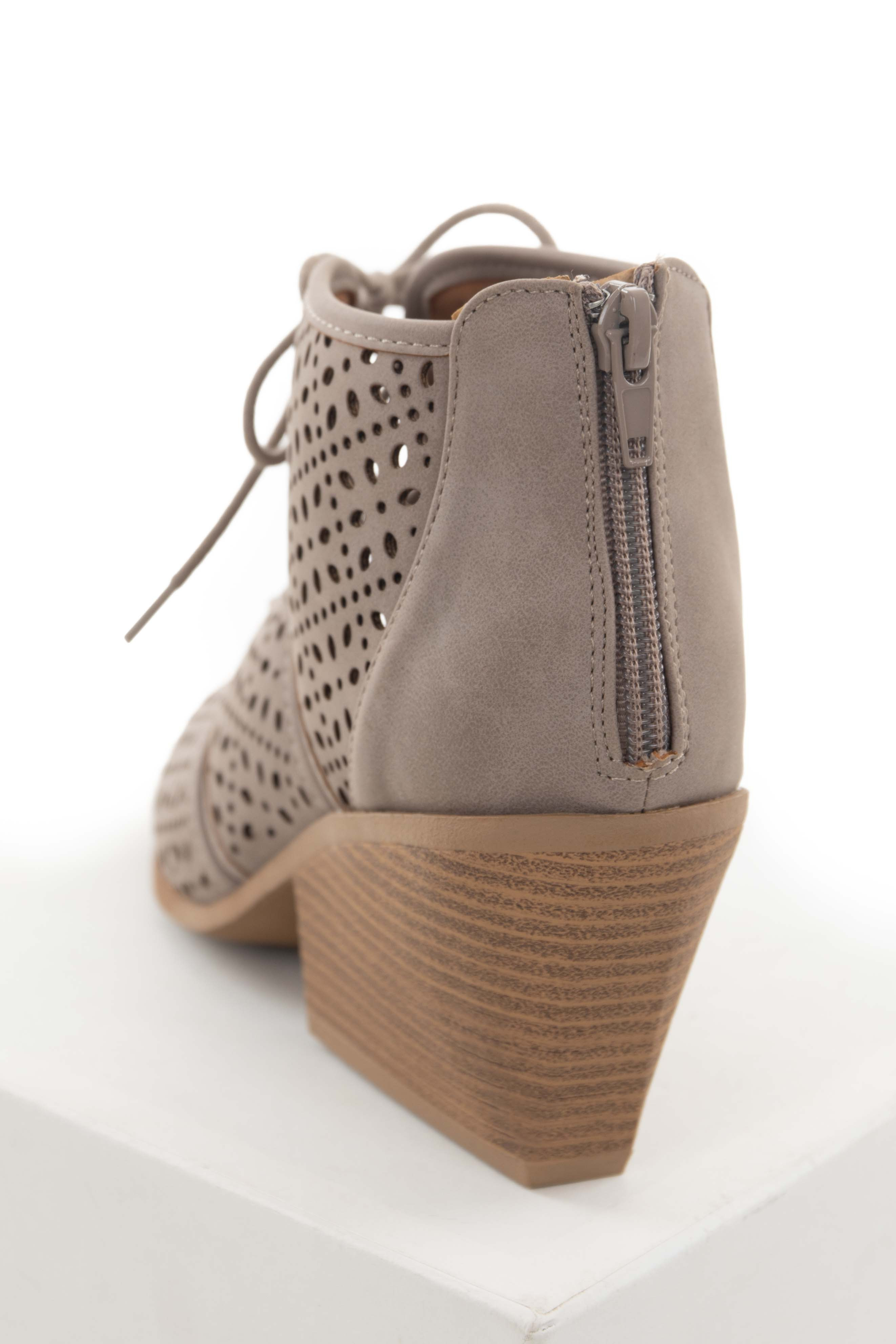 Taupe Peep Toe Stacked Heel Perforated Bootie