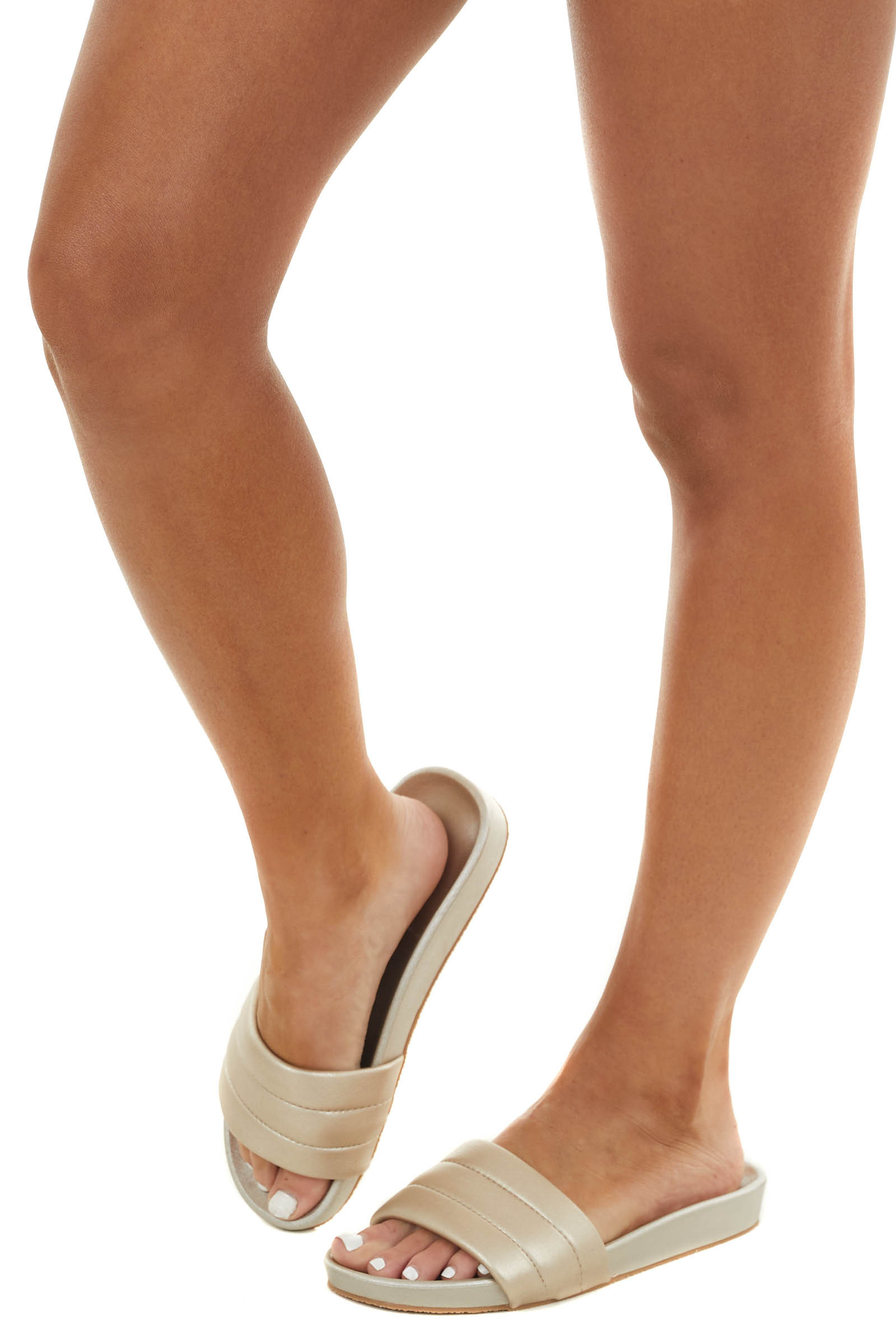 Champagne Faux Leather Slide On Sandals