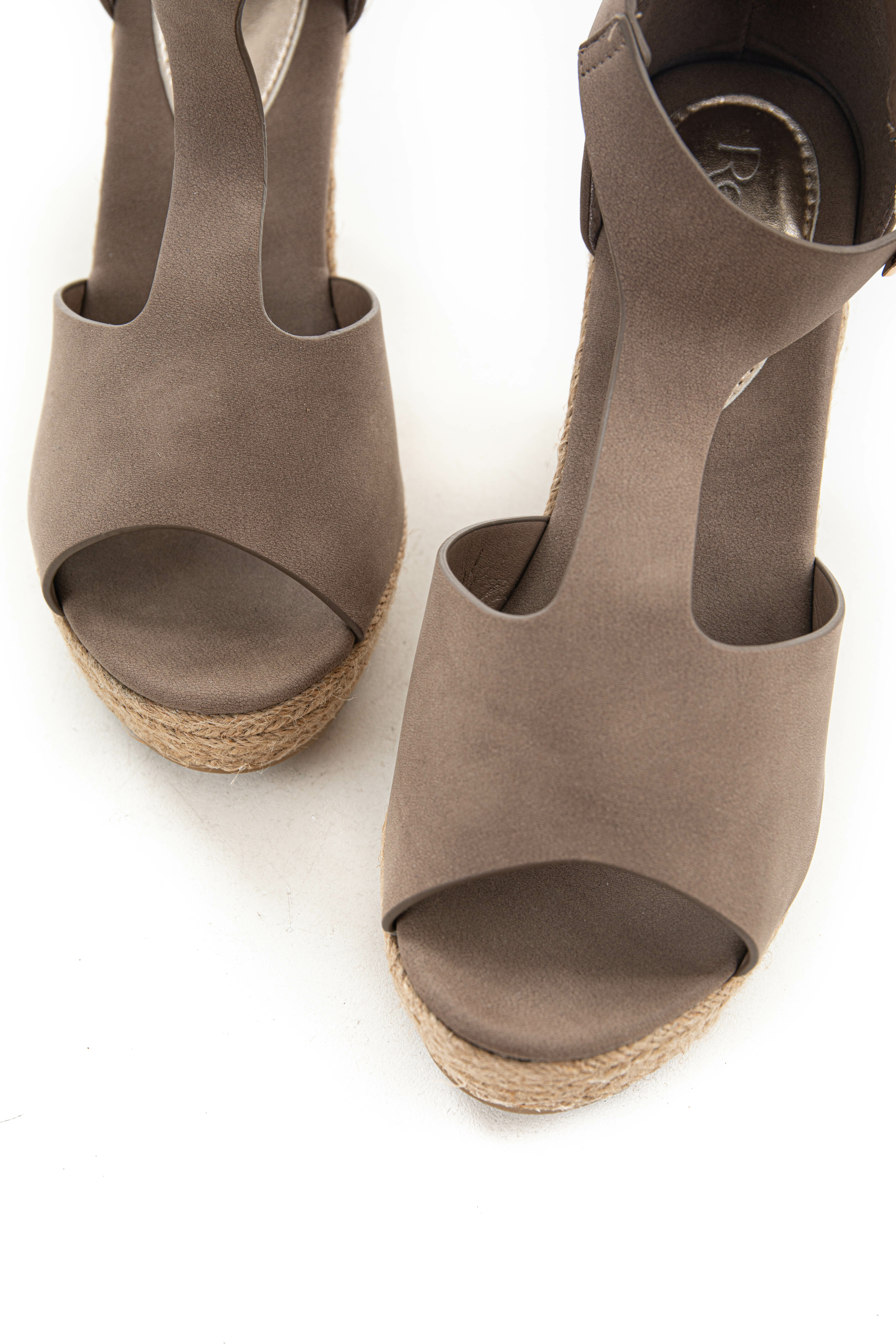 Taupe Faux Suede Cut Out Espadrille Wedges