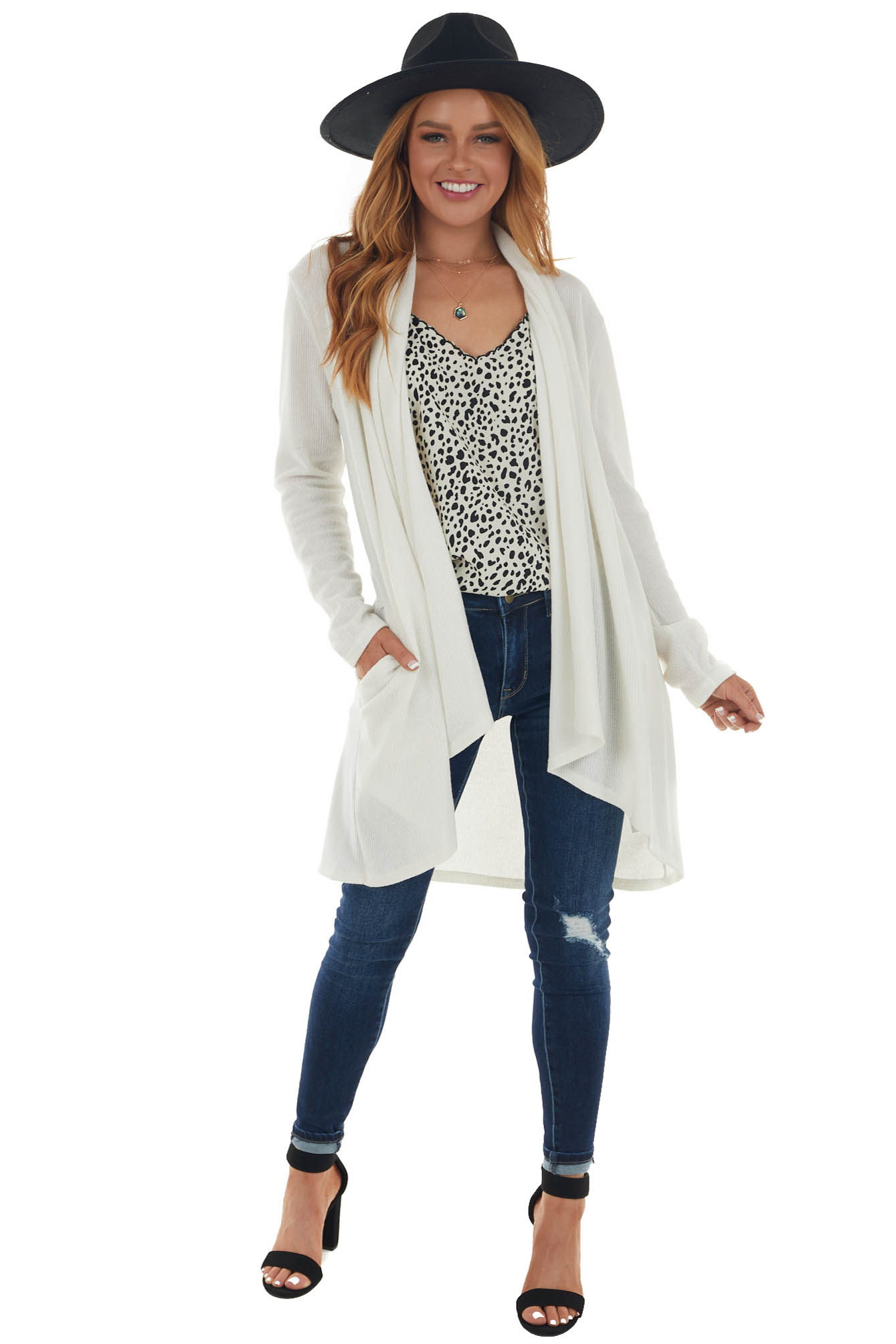 Champagne Open Front Long Sleeve Cardigan with Pockets