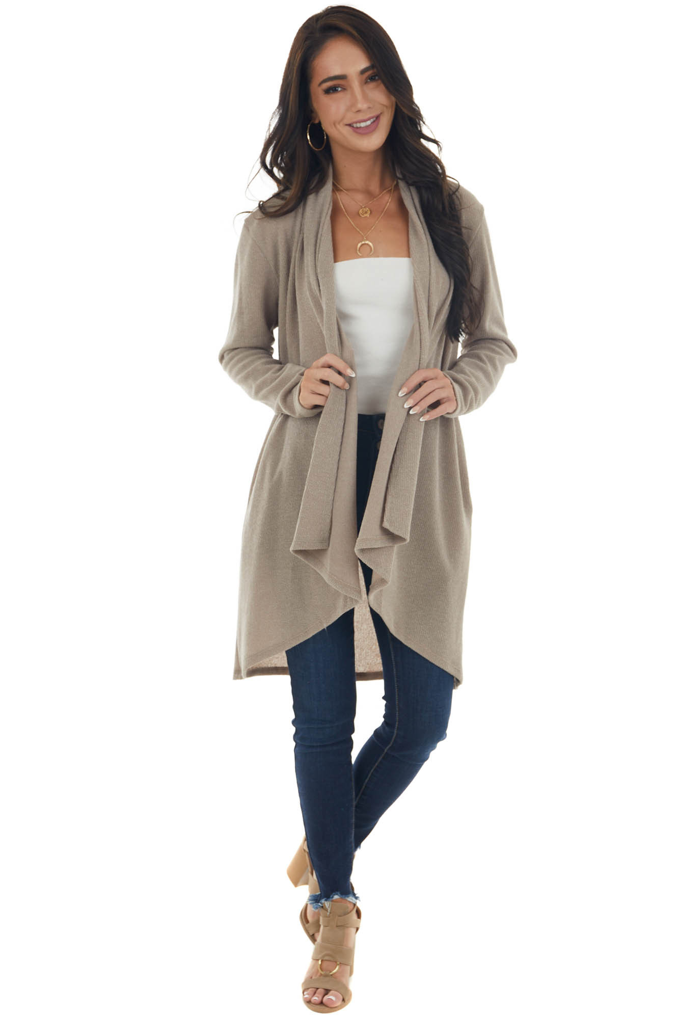 Taupe Open Front Long Sleeve Cardigan with Pockets