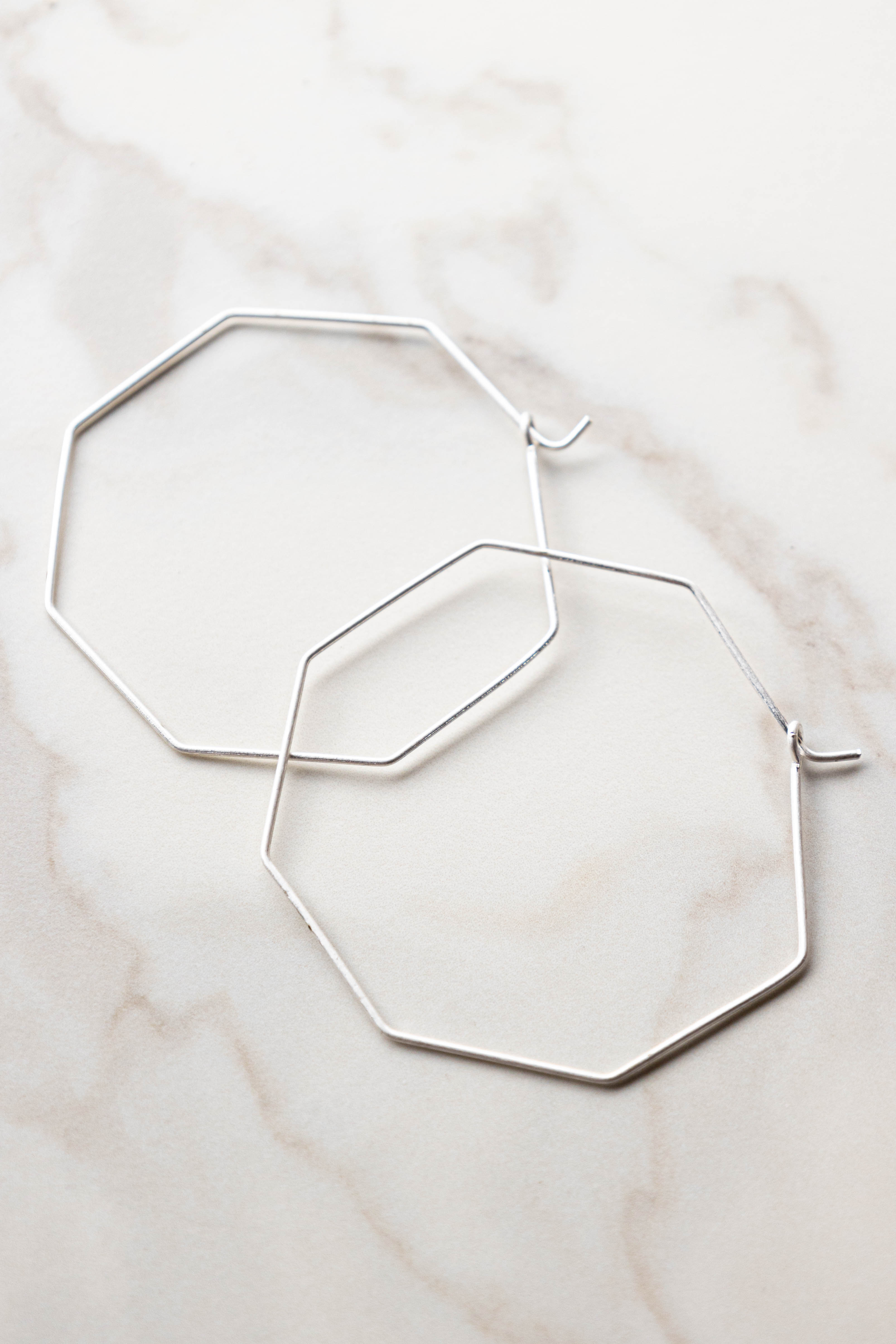 White Silver Hollow Octagon Shaped Earrings