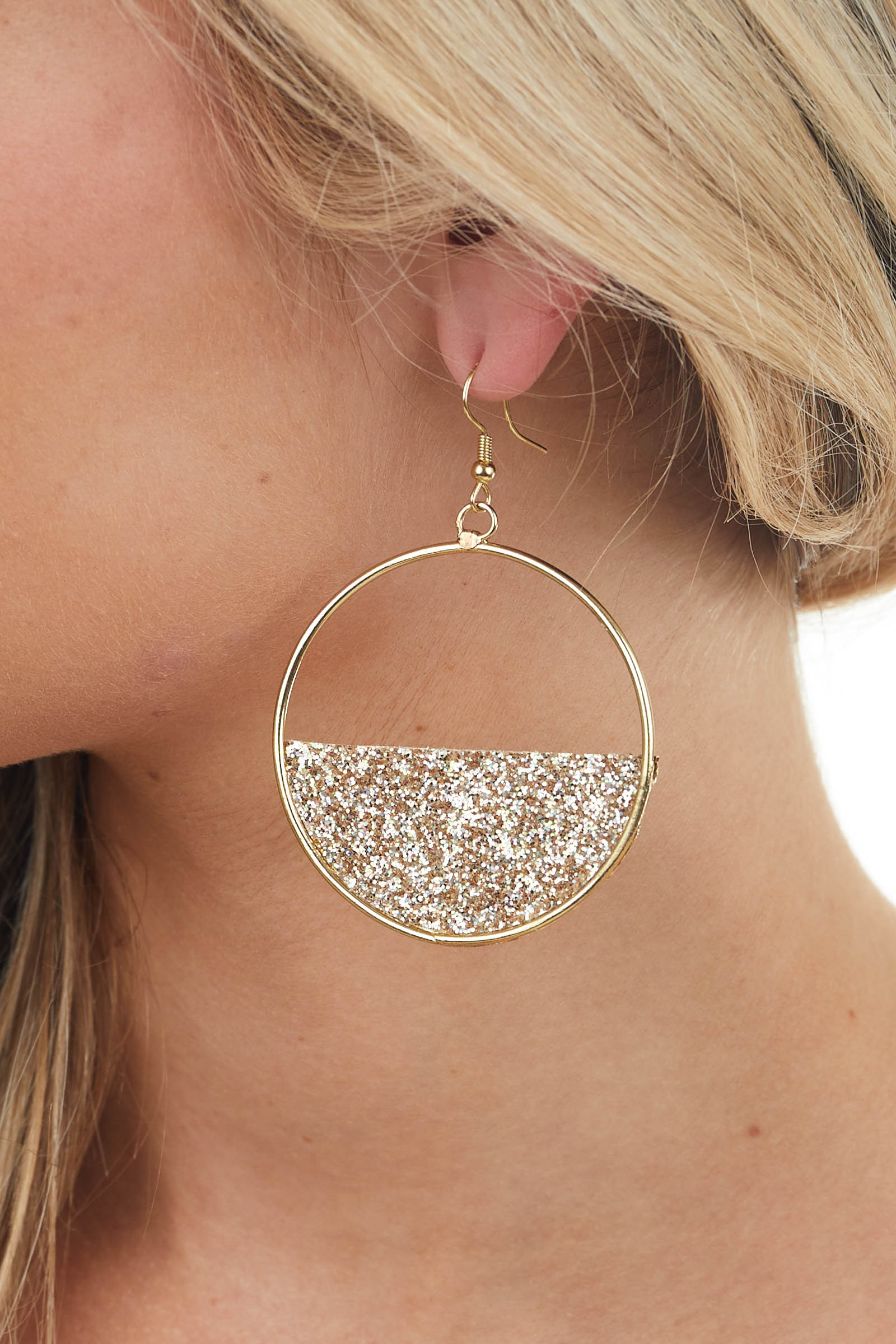 Gold and Rose Taupe Glitter Circle Earrings