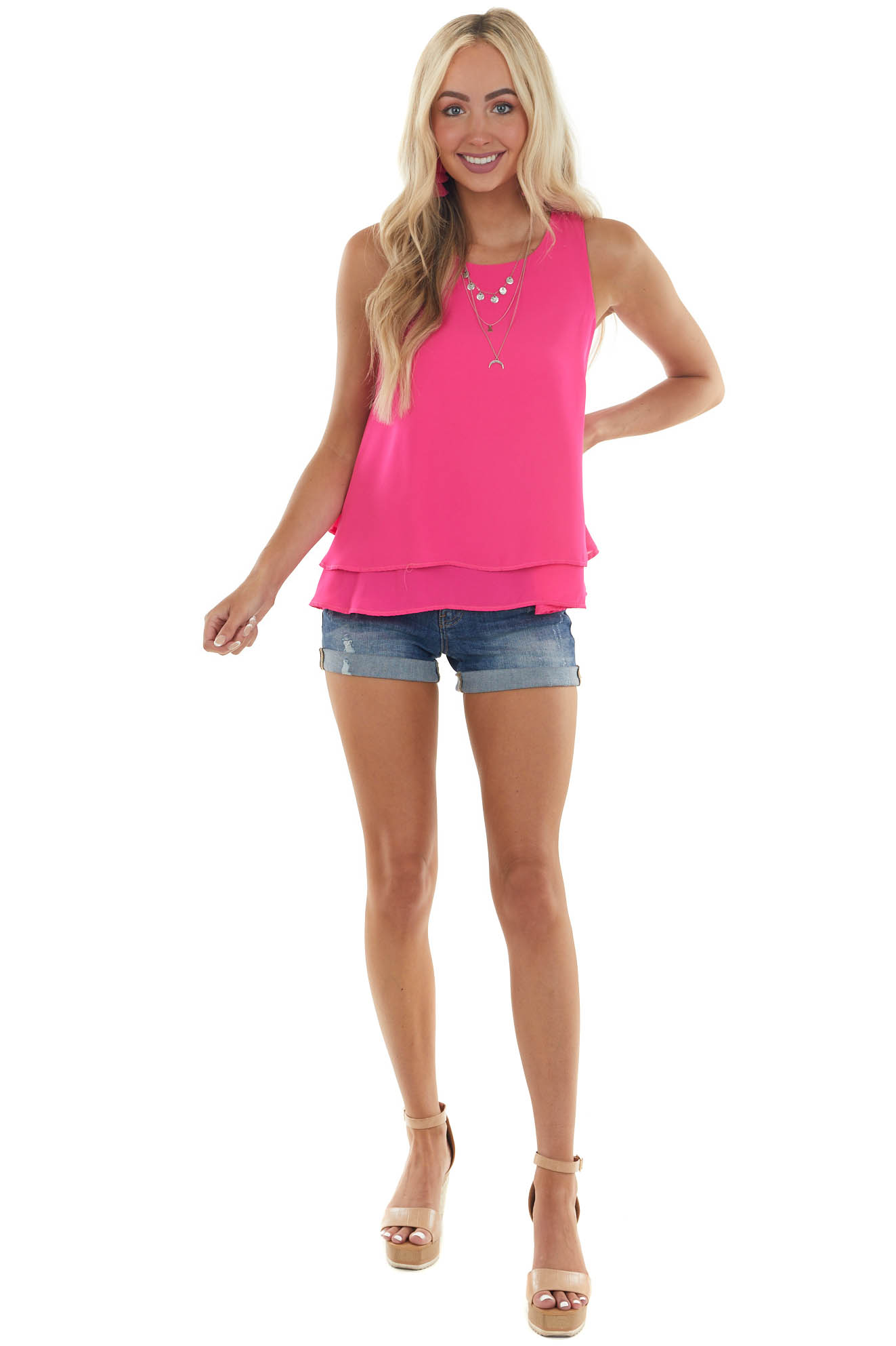 Magenta Double Layer Flowy Woven Tank Top
