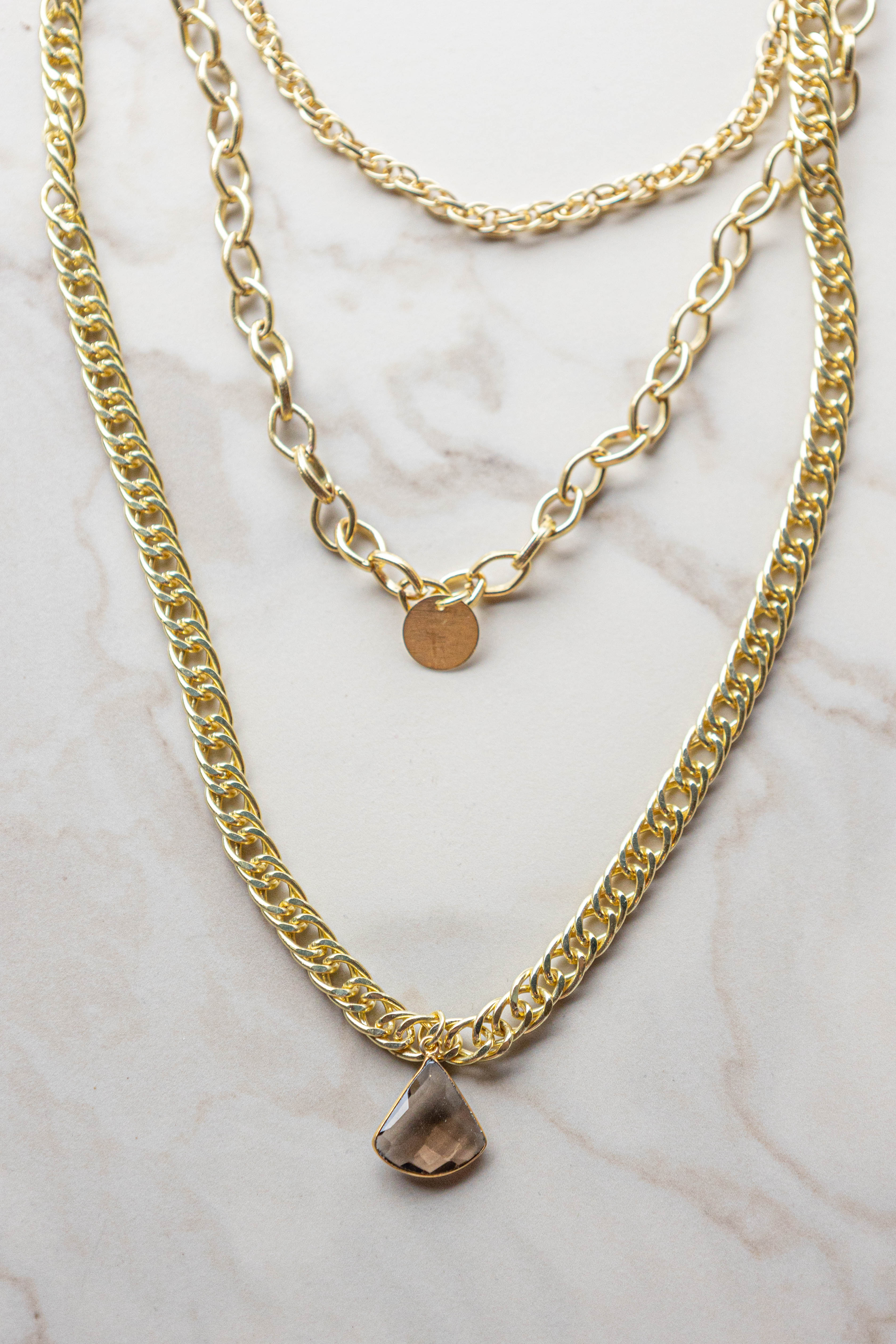 Gold Layered Chain Necklace with Stone Pendant