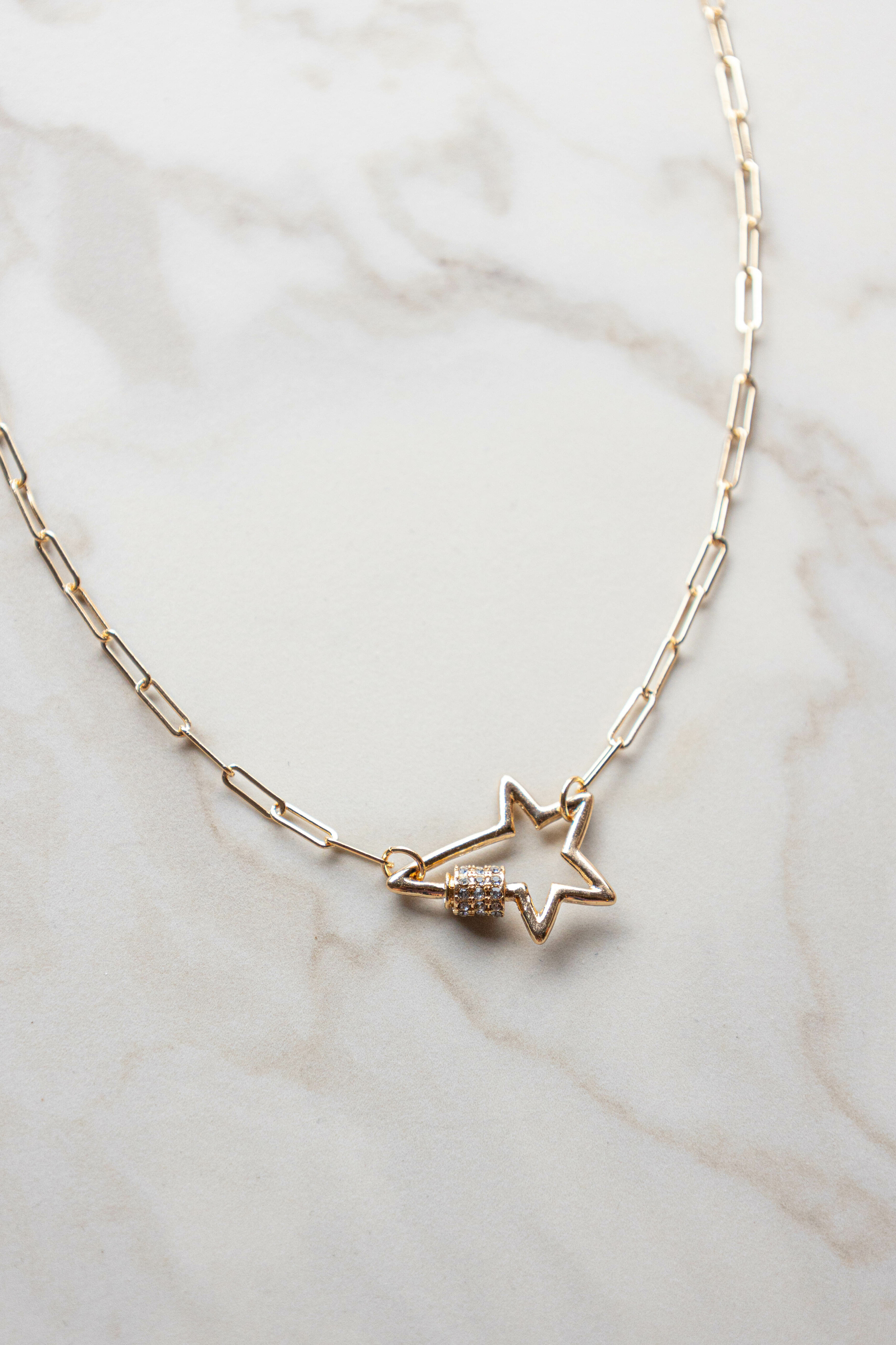 Gold Paperclip Chain Star Charm Necklace