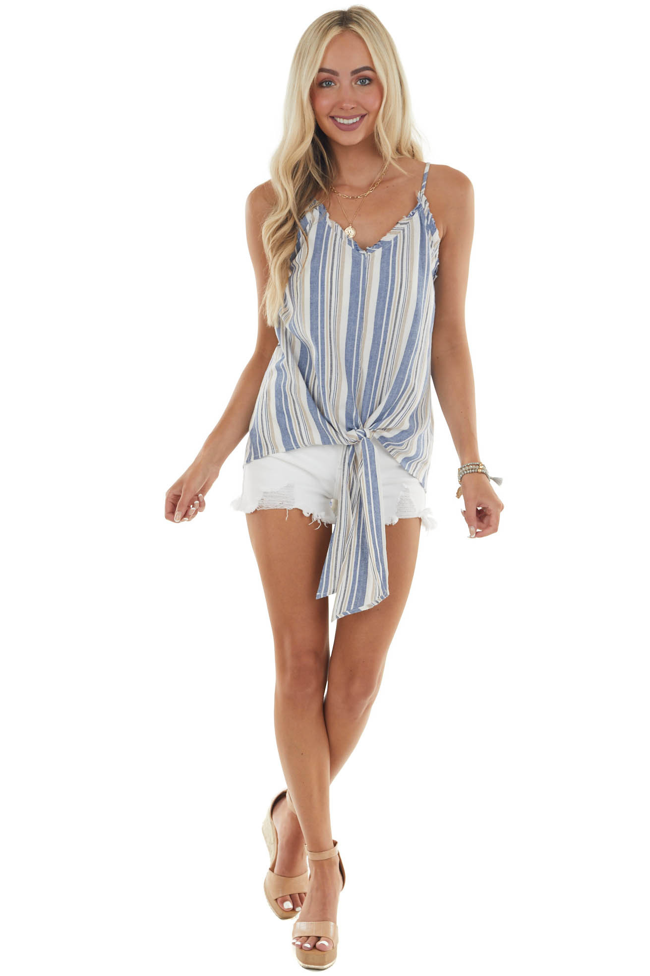 Denim Blue Striped Tank Top with Front Tie