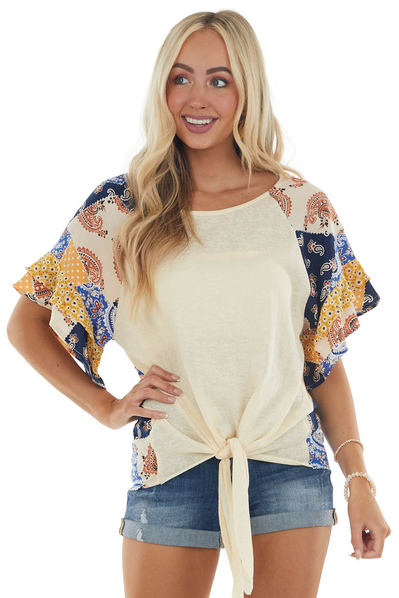 Sand Abstract Print Top with Front Tie