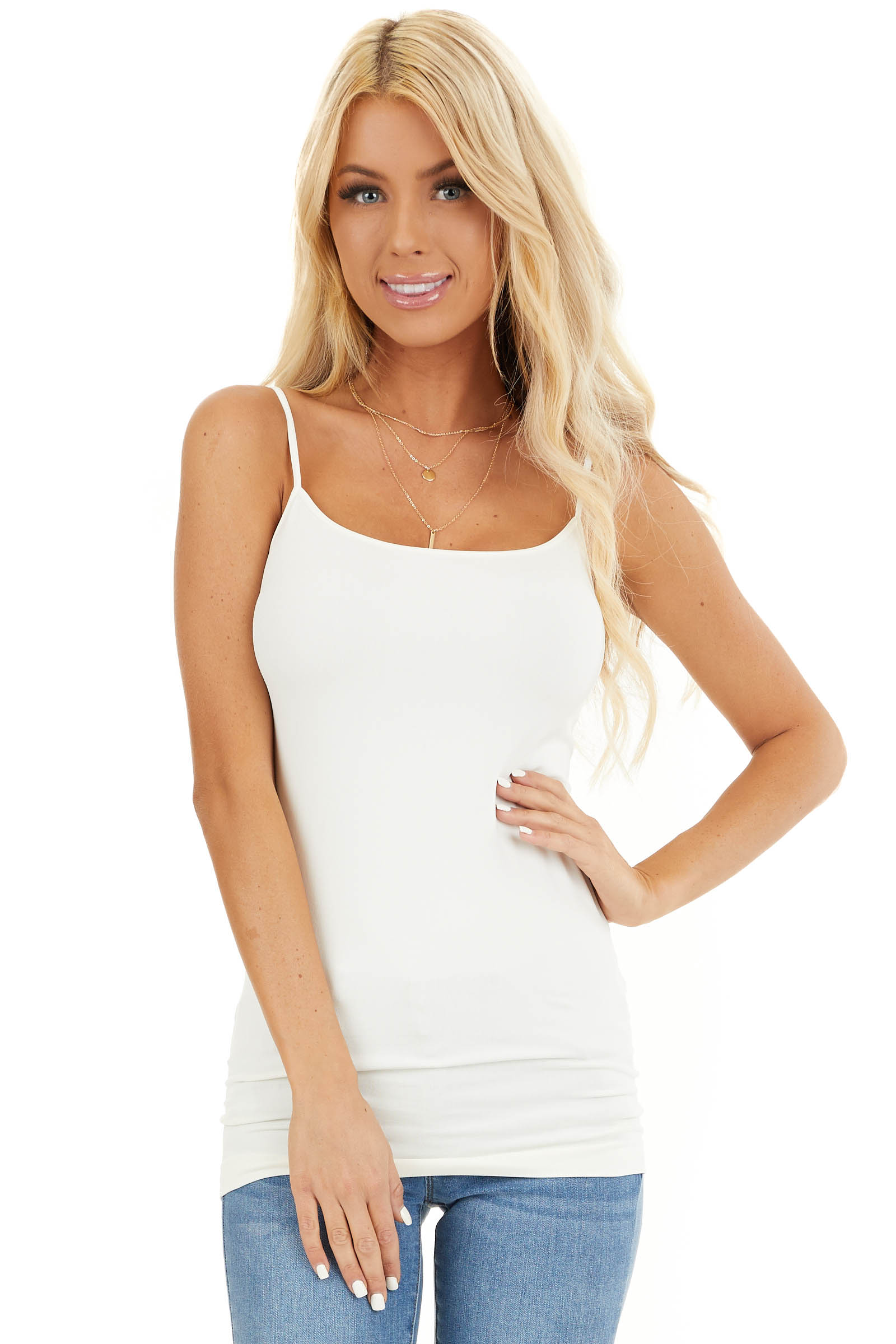 Ivory Seamless Cami Slip front close up