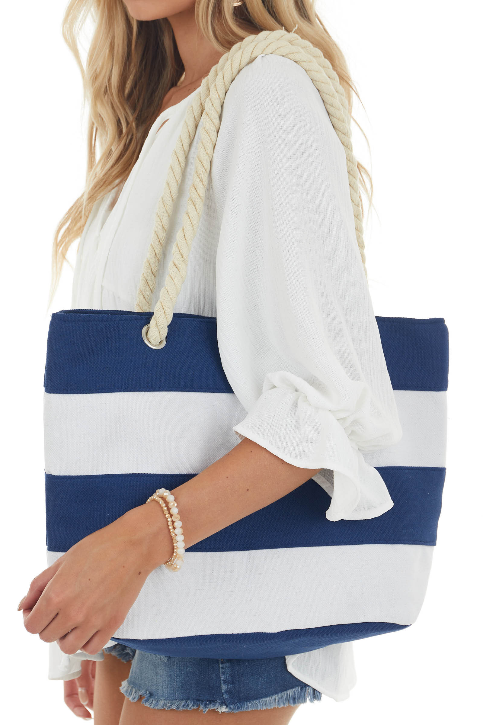 Catalina Blue and White Striped Tote Bag