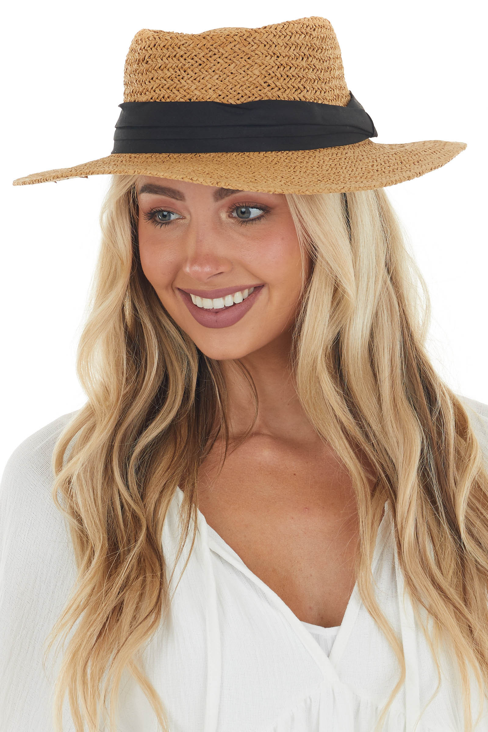 Camel Straw Boater Hat with Black Band