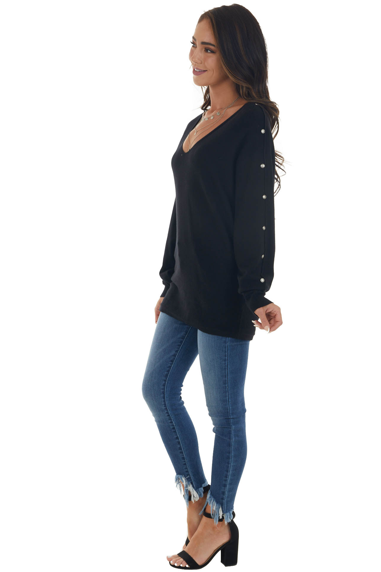 Black Soft Knit Sweater Top with Buttons
