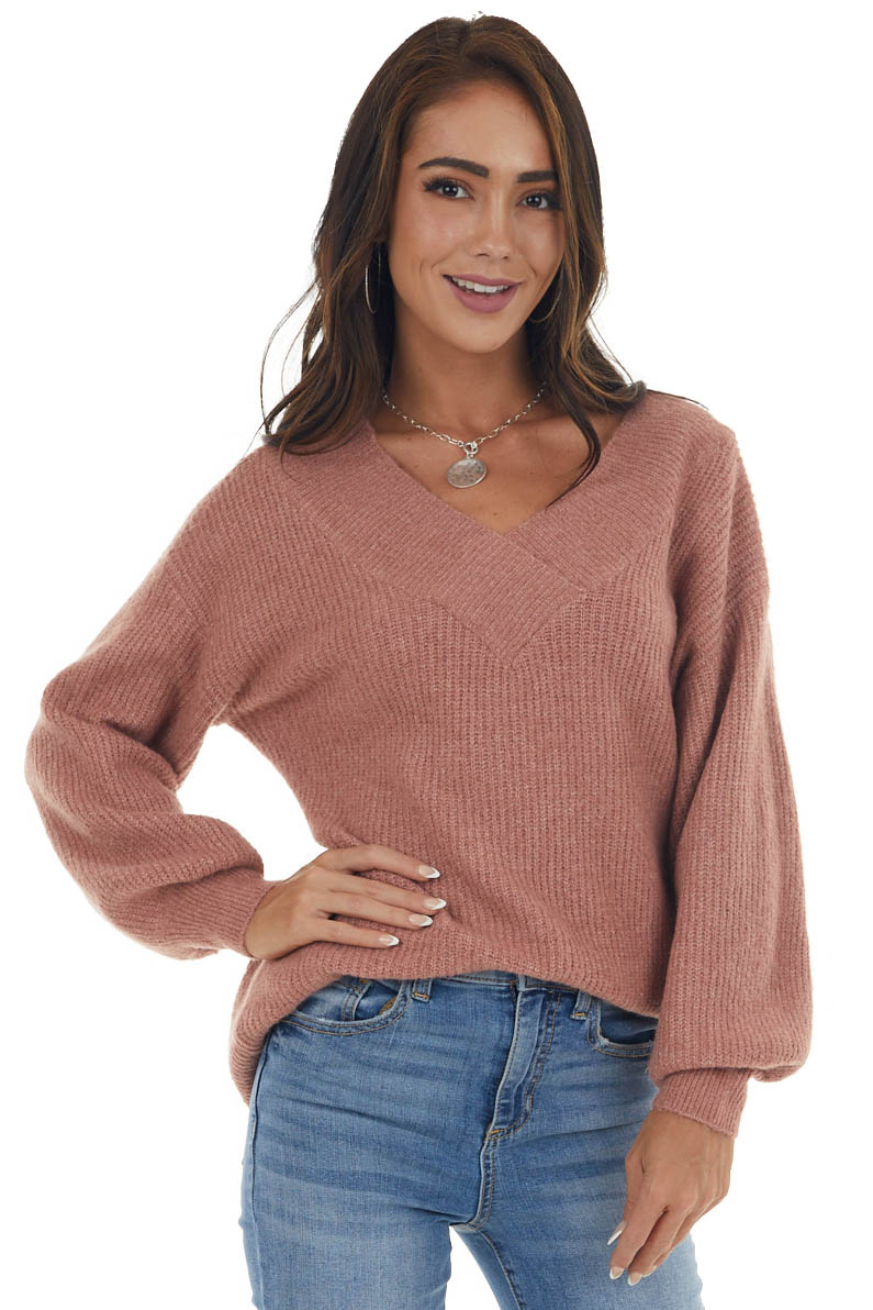 Rose Taupe Wide V Neck Long Sleeve Sweater