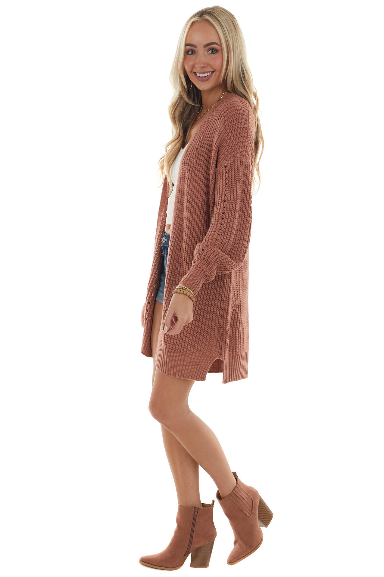 Terracotta Long Sleeve Thick Knit Cardigan