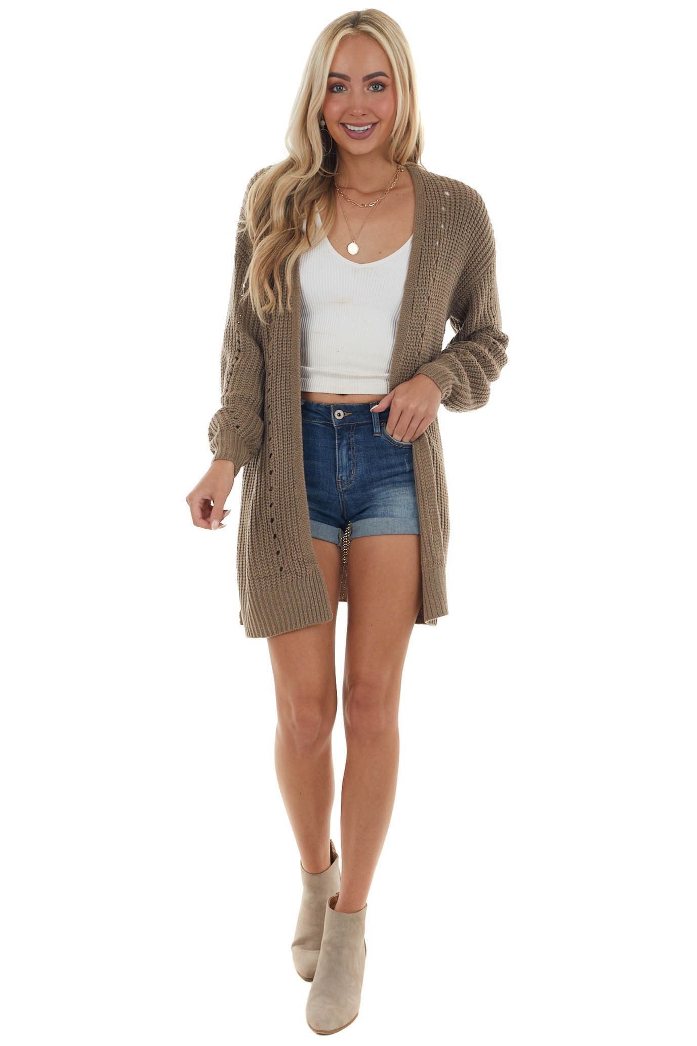 Deep Willow Long Sleeve Thick Knit Cardigan