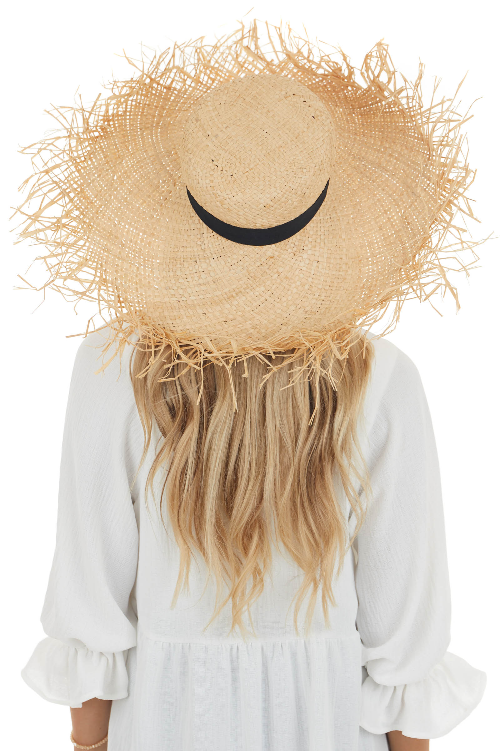 Natural Wide Brim Straw Hat with Ribbon Detail