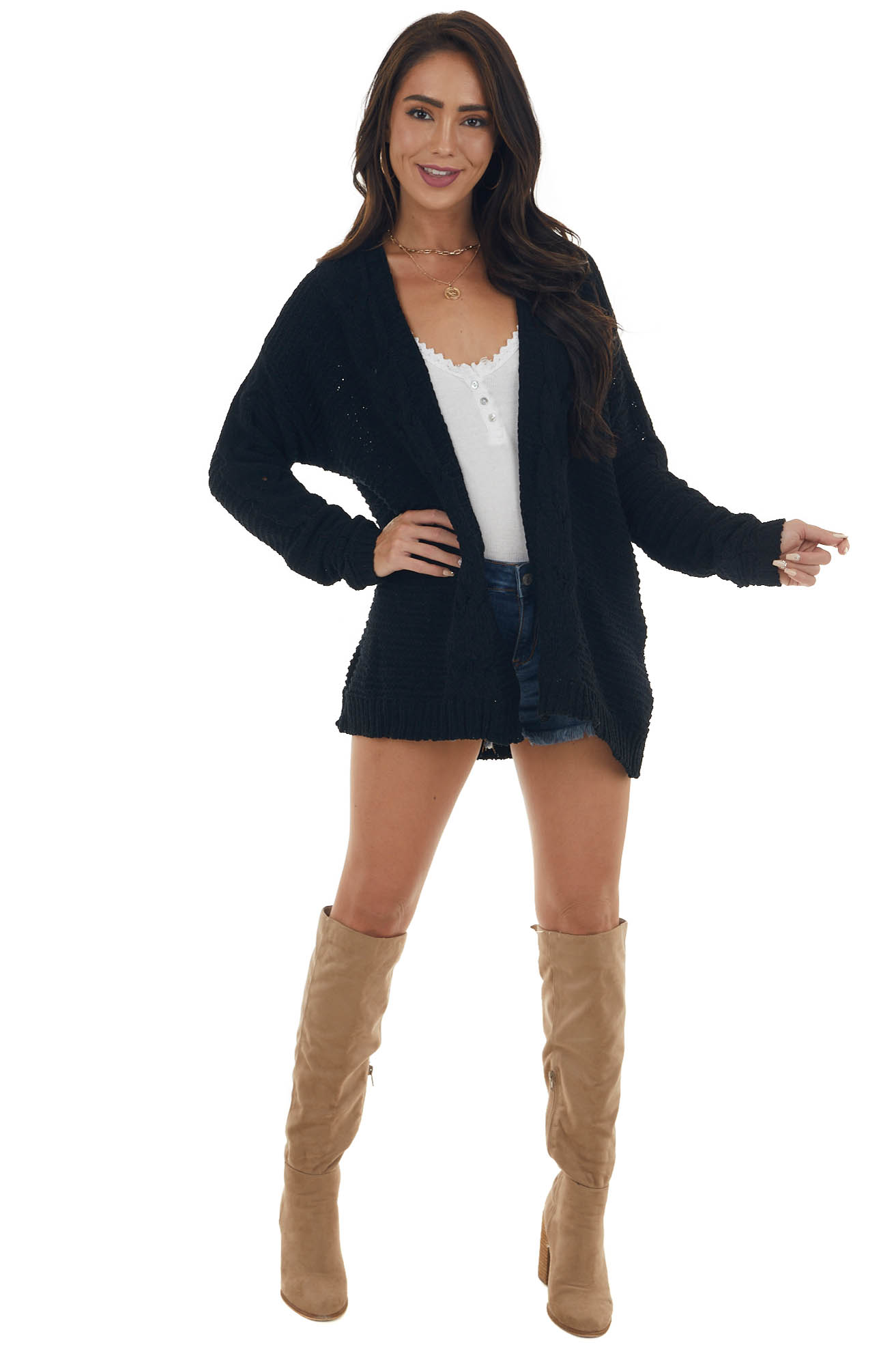 Black Soft Cable Knit Open Front Cardigan