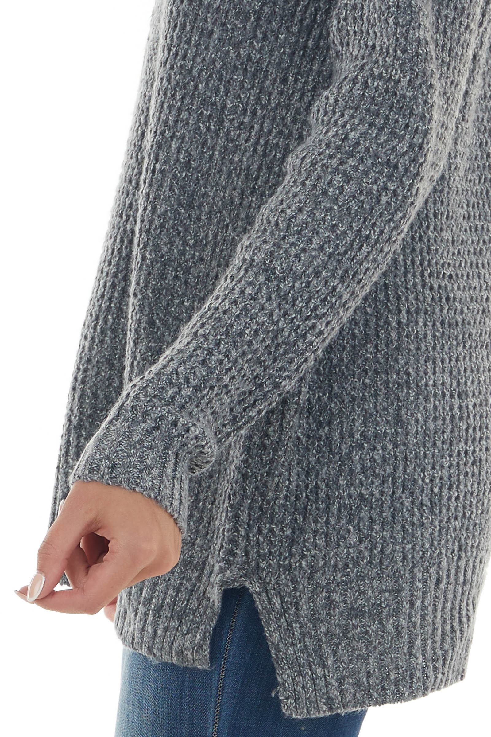 Stone Grey Double V Neck Loose Knit Sweater