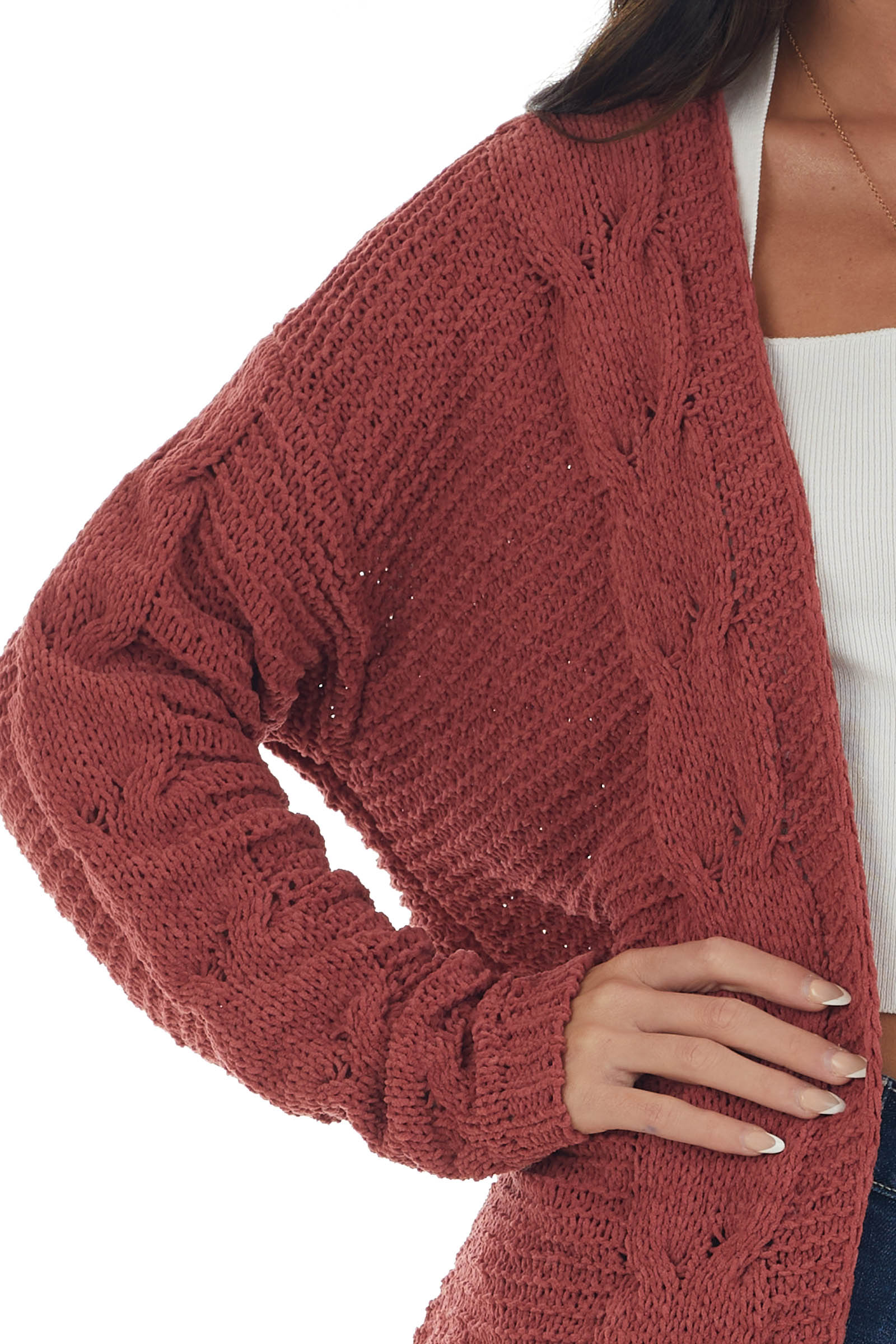 Brick Red Soft Cable Knit Open Front Cardigan