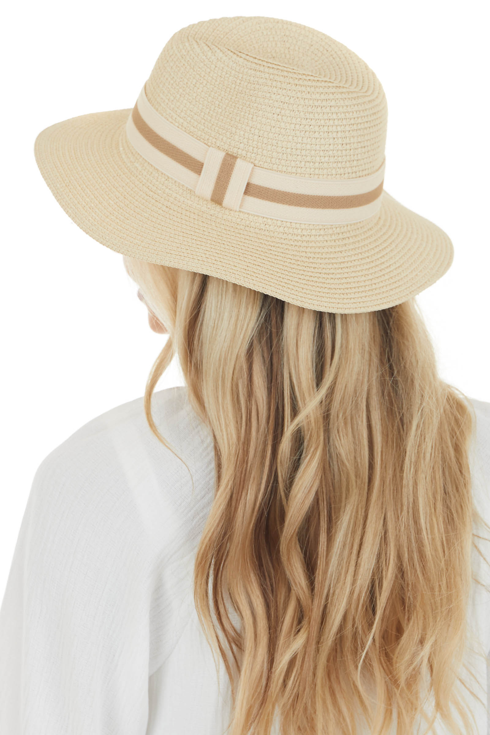 Beige Straw Sun Hat with Striped Band Detail