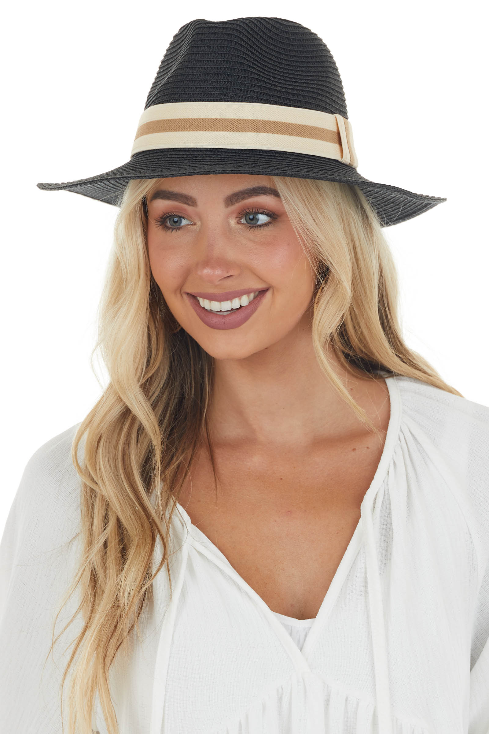 Black Straw Sun Hat with Striped Band Detail