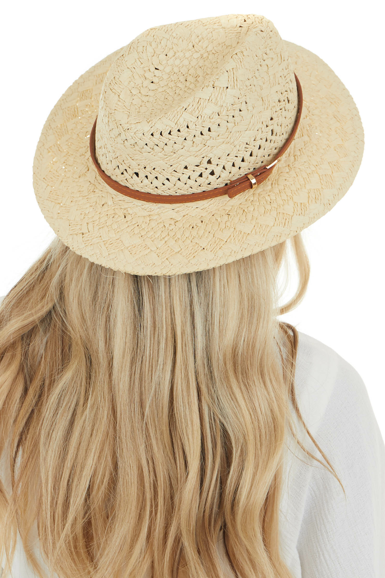 Camel Straw Boater Hat with Brown Band