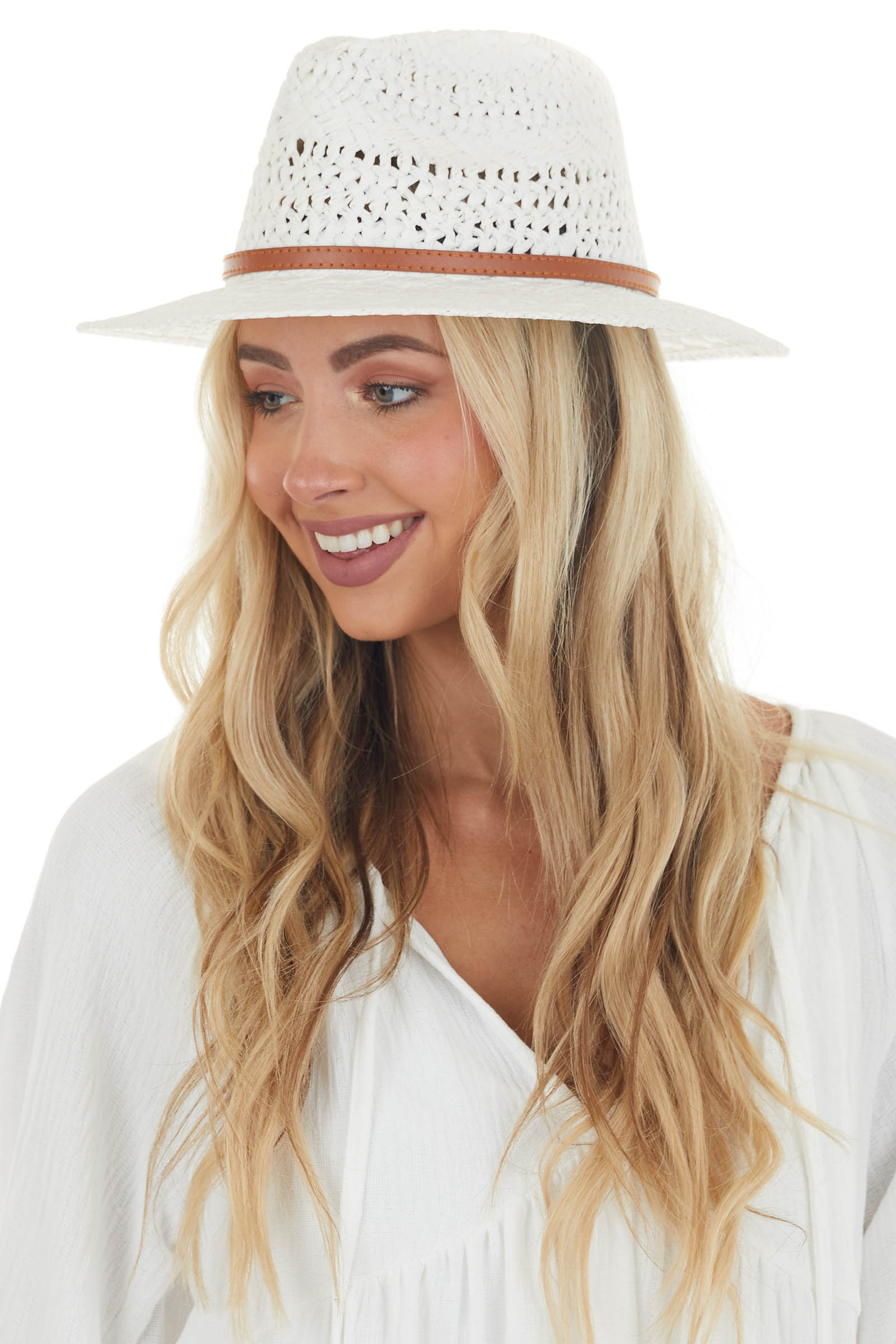 Ivory Straw Boater Hat with Brown Band