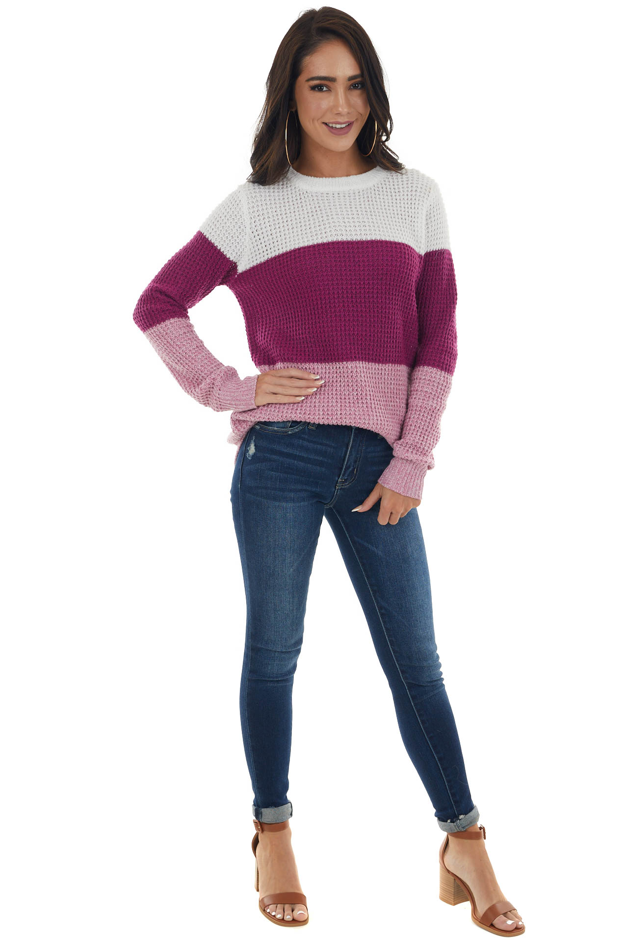 Rich Plum Colorblock Thick Waffle Knit Sweater