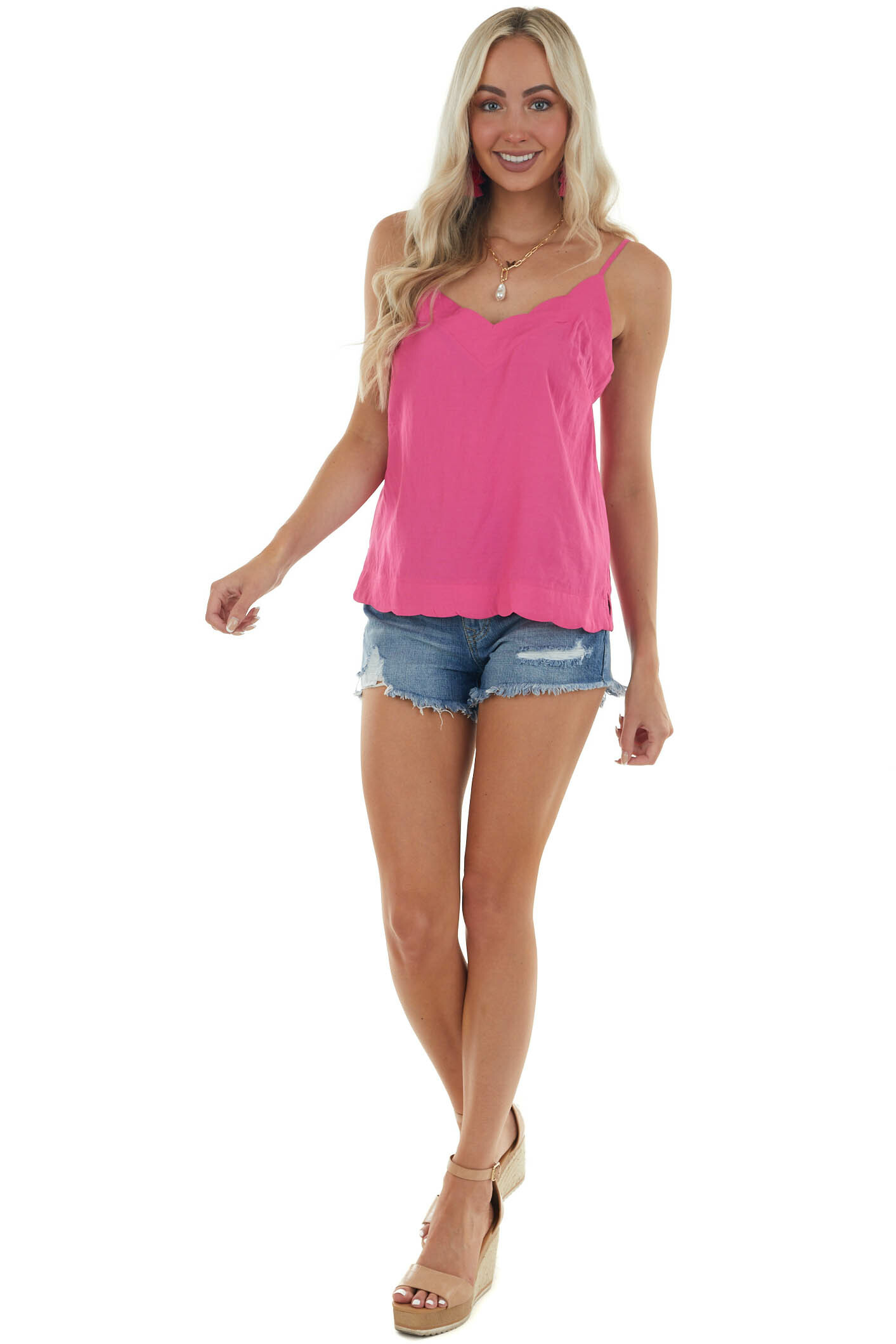 Magenta Scalloped Woven Top with Side Slits