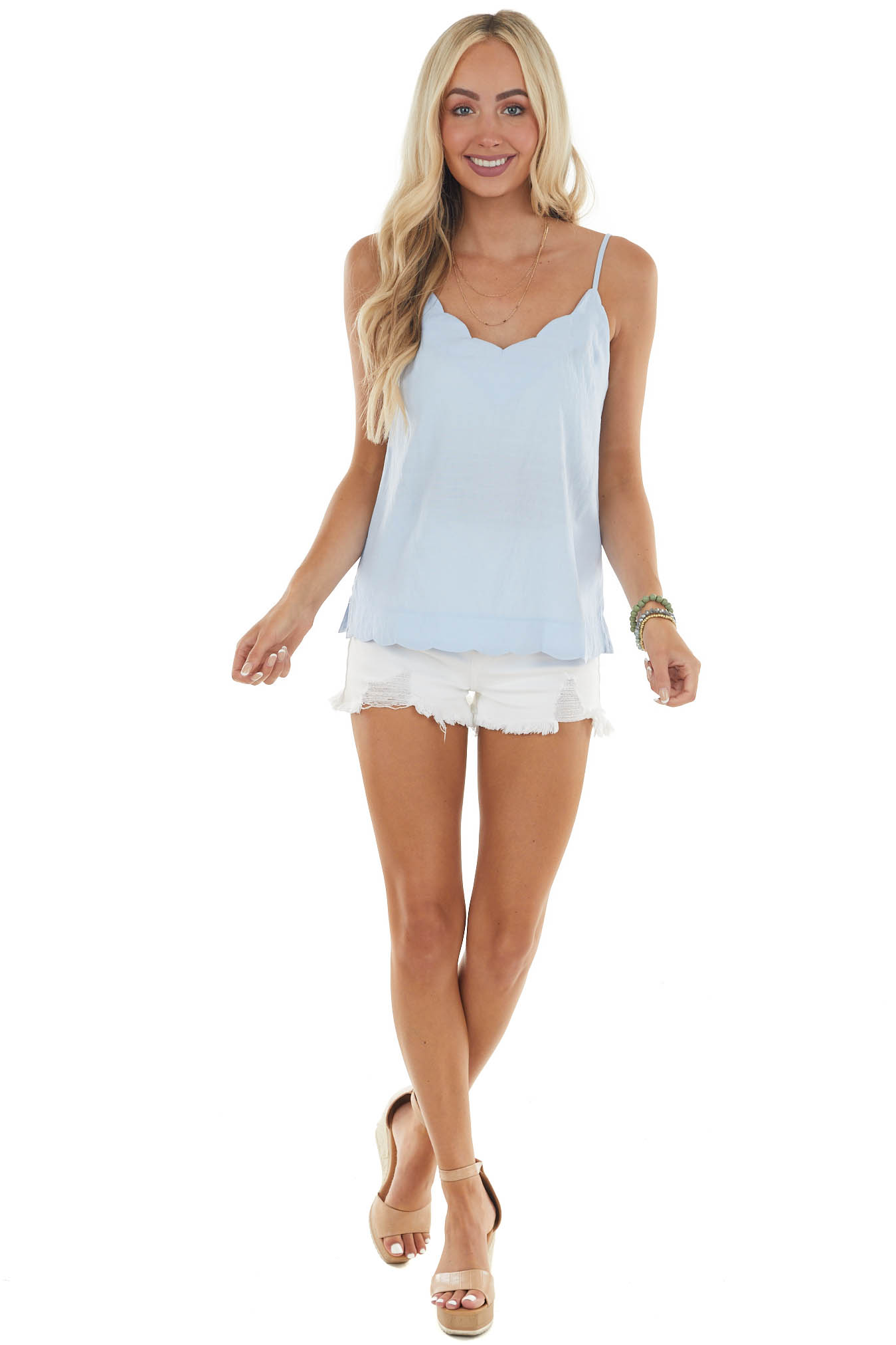 Pastel Blue Scalloped Top with Side Slits