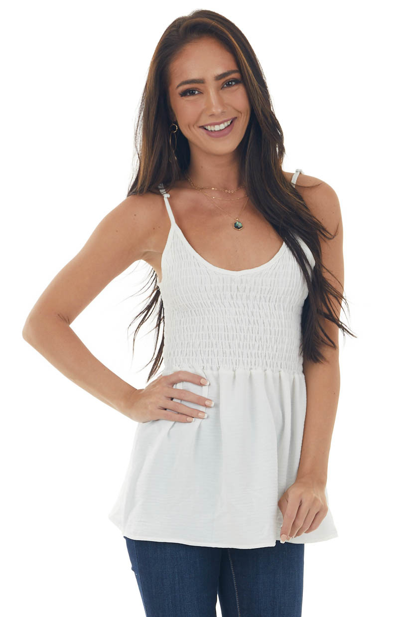 Pearl Sleeveless Blouse with Smocked Bodice