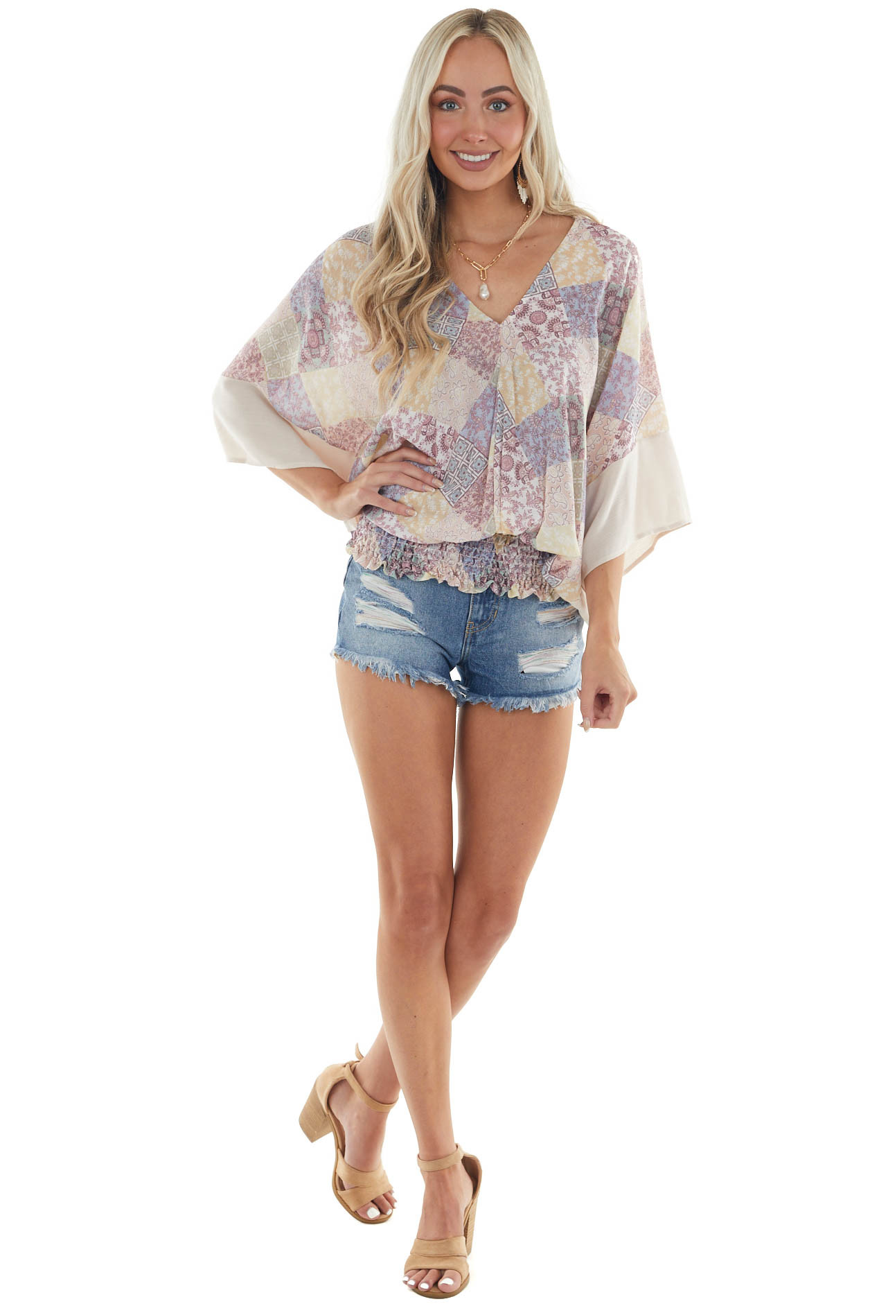 Multicolor Abstract Print V Neck Blouse
