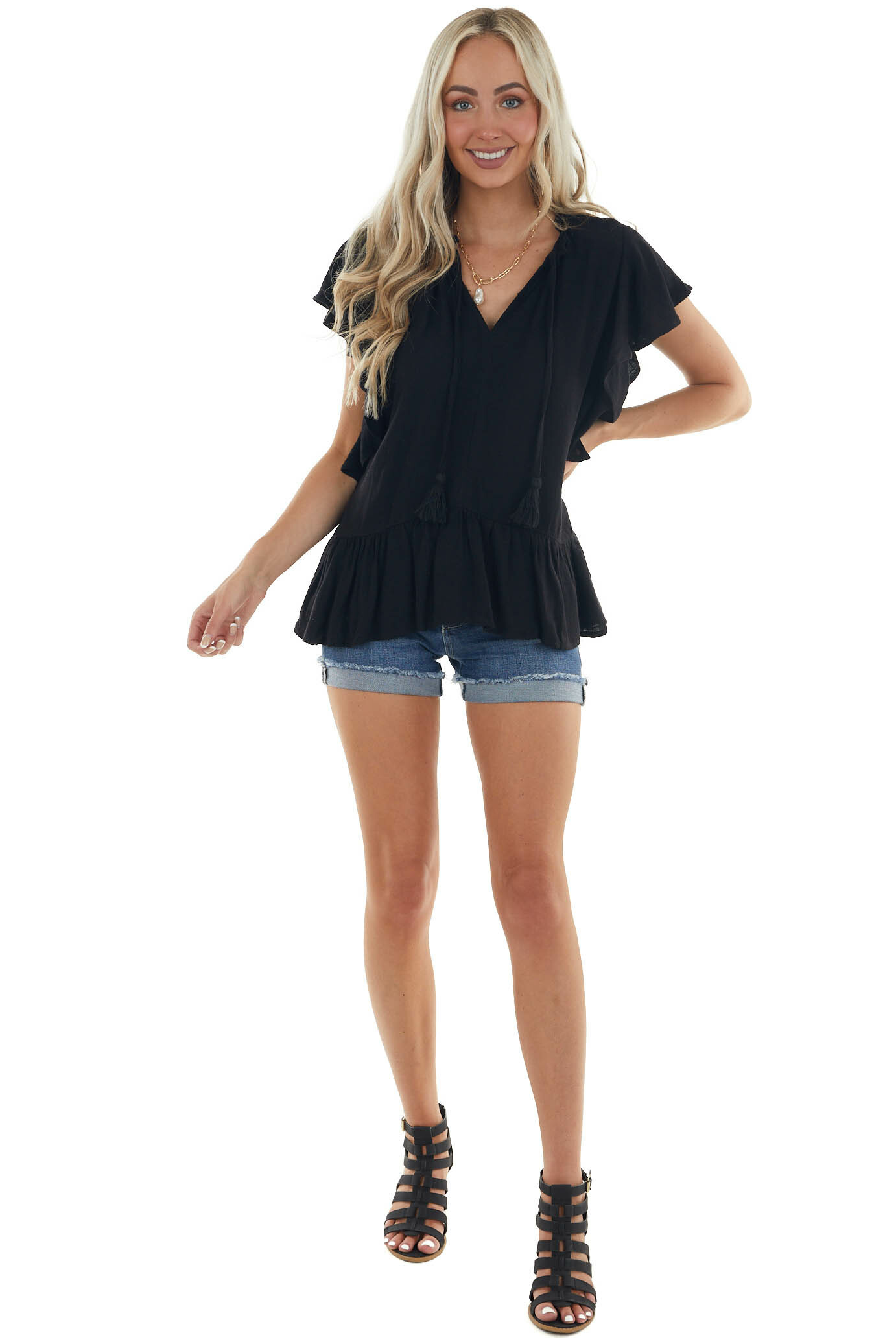 Black Short Sleeve Woven Top with Tie Detail