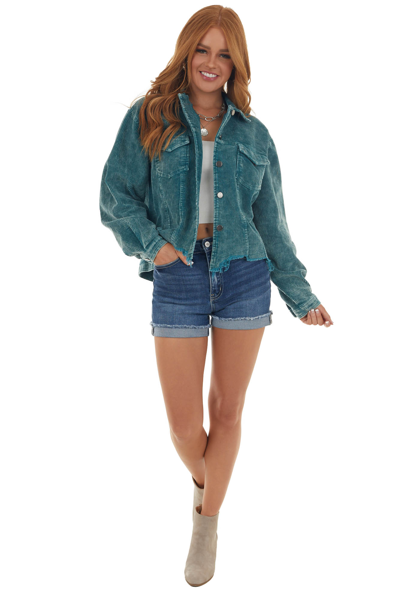 Sea Blue Corduroy Distressed Button Up Jacket