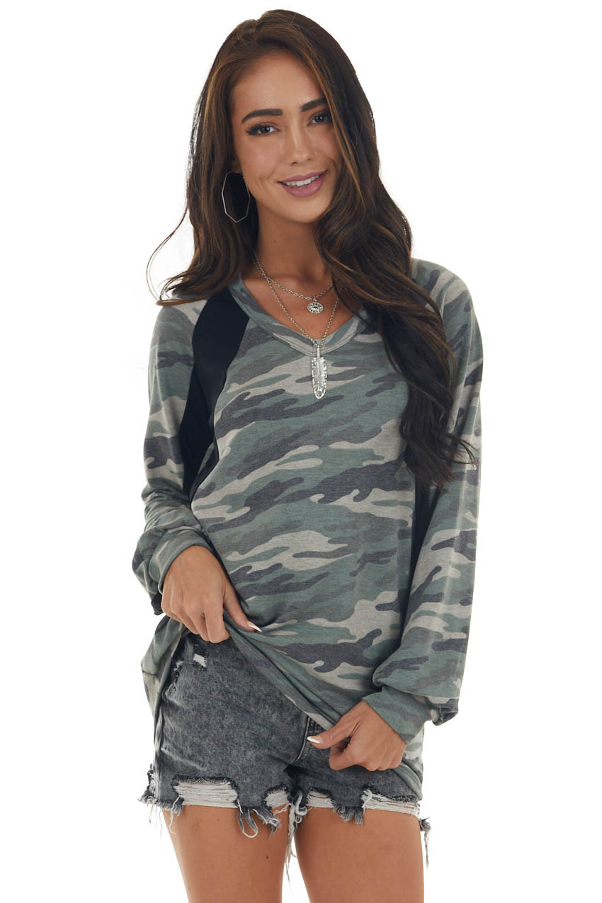 Black and Camo Long Sleeve V Neck Knit Top