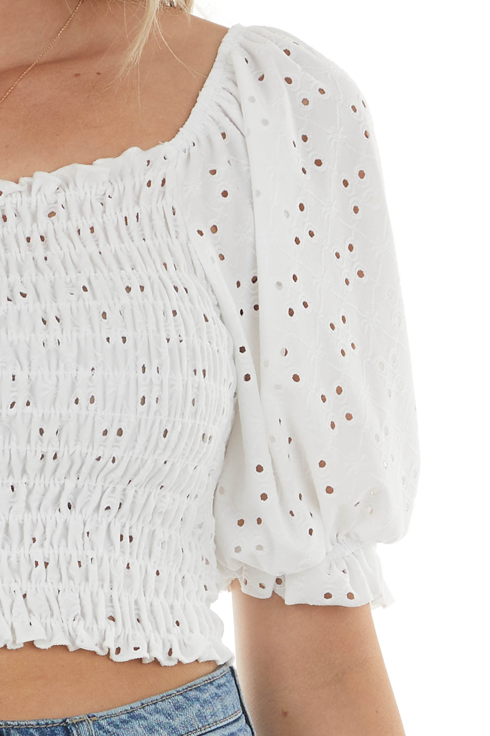 Off White Eyelet Lace Smocked Top