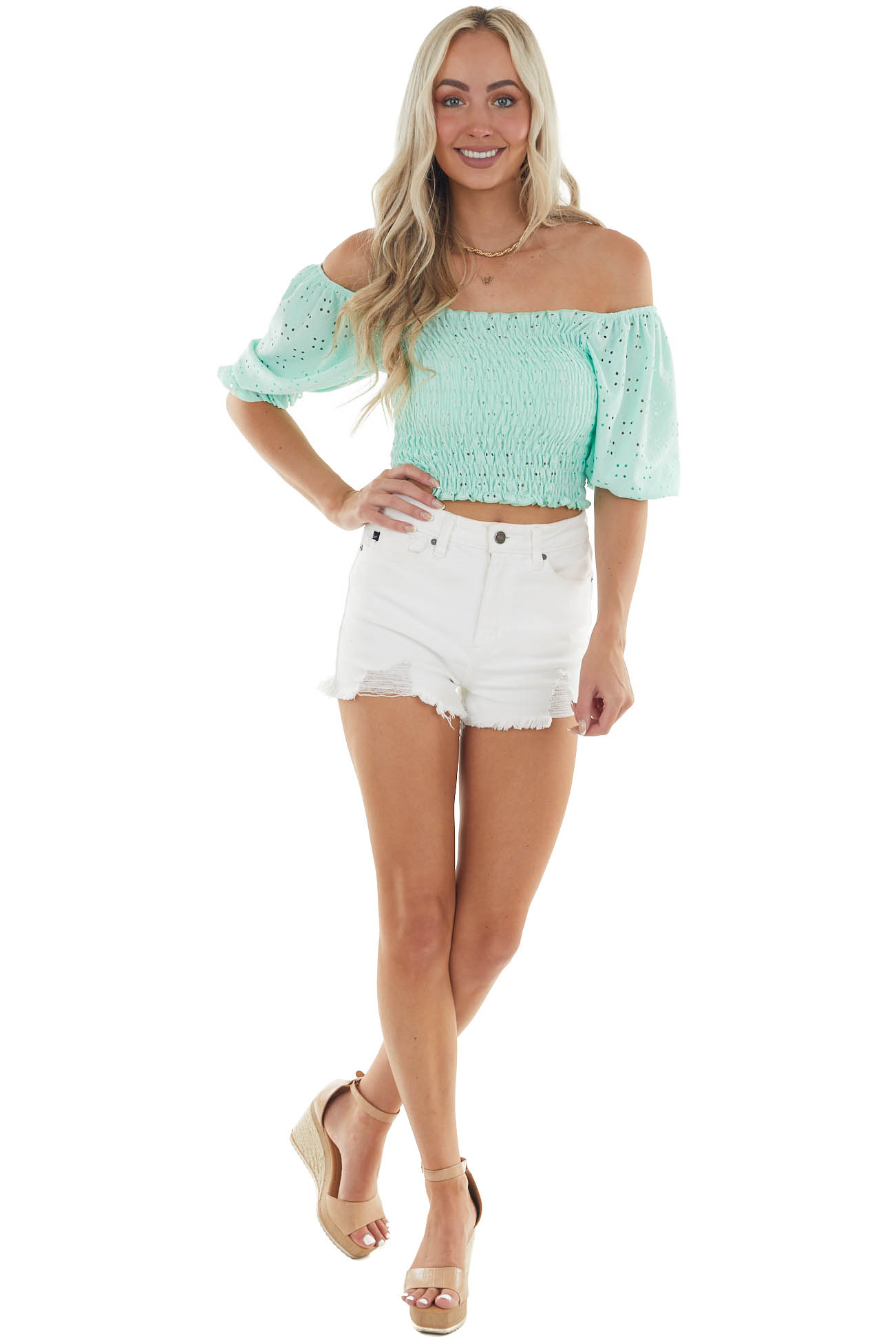 Mint Eyelet Lace Smocked Top with Puff Sleeves