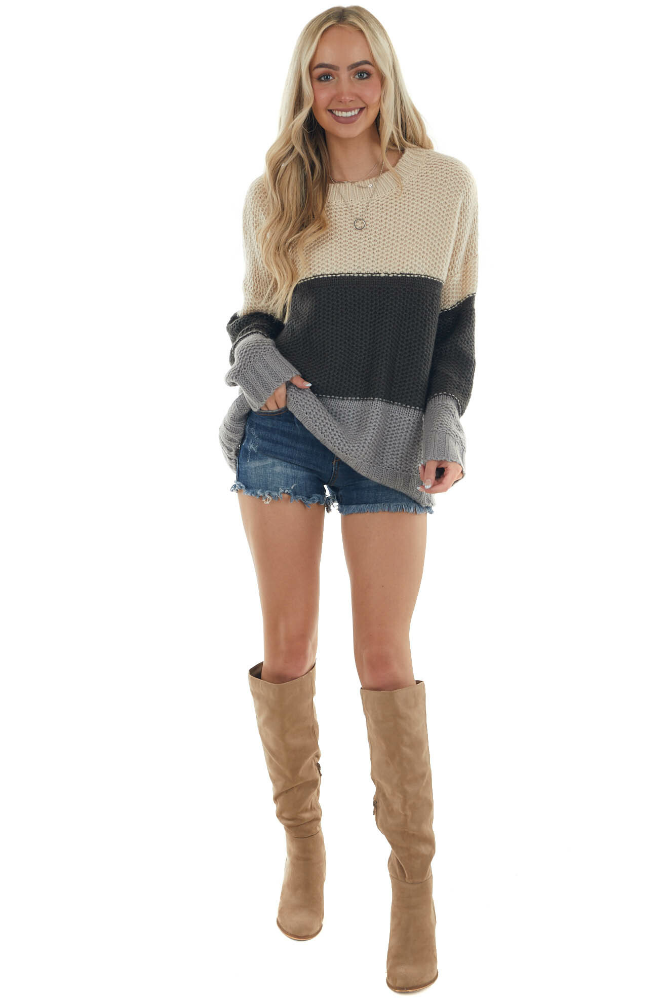 Champagne Colorblock Thick Knit Sweater