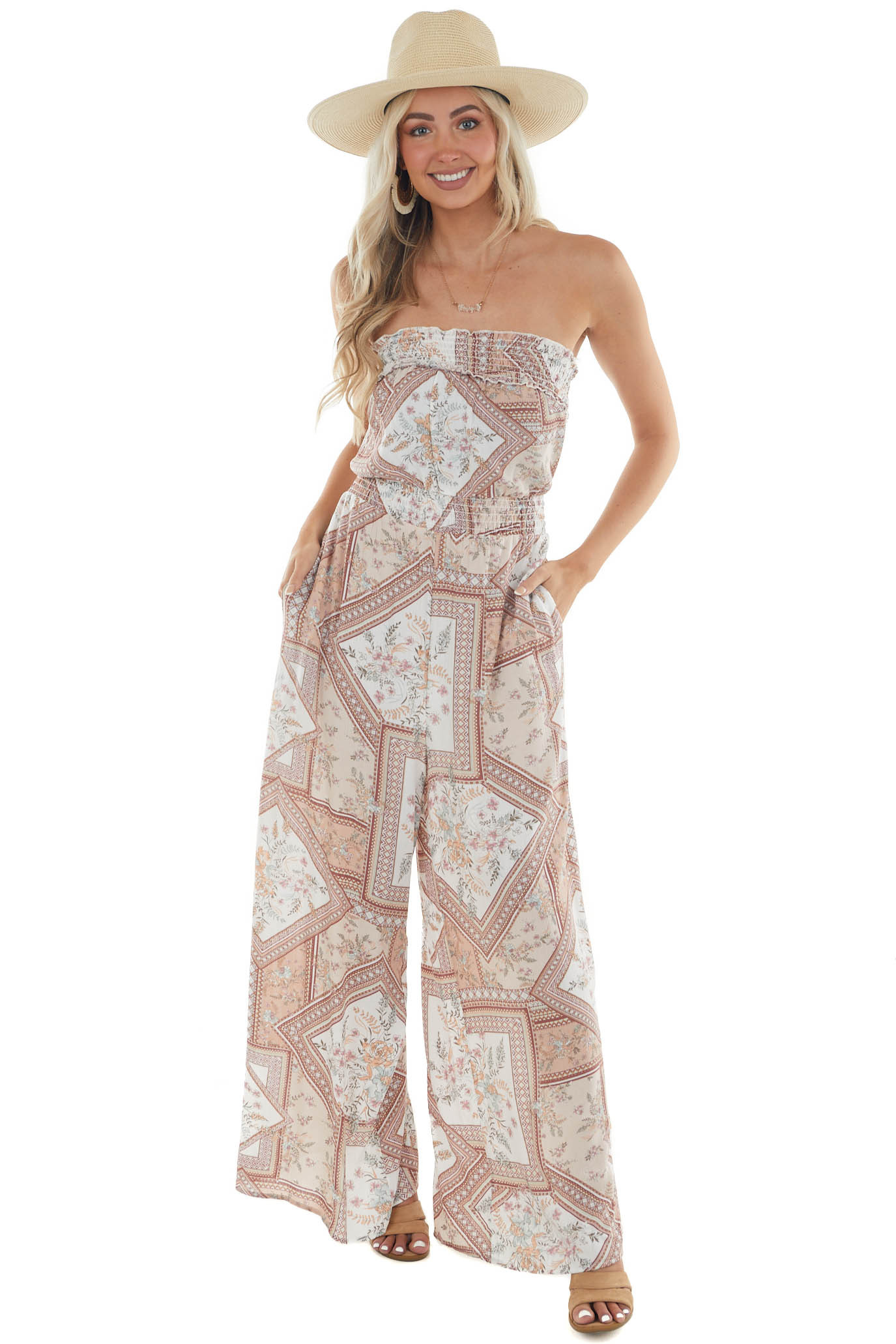 Ivory Printed Strapless Wide Leg Jumpsuit