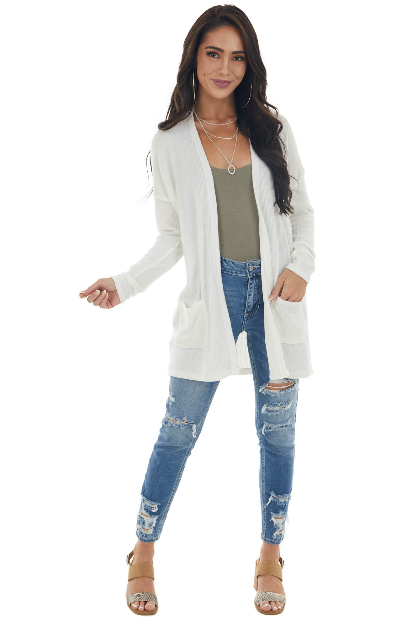 Ivory Ribbed Long Sleeve Open Front Cardigan