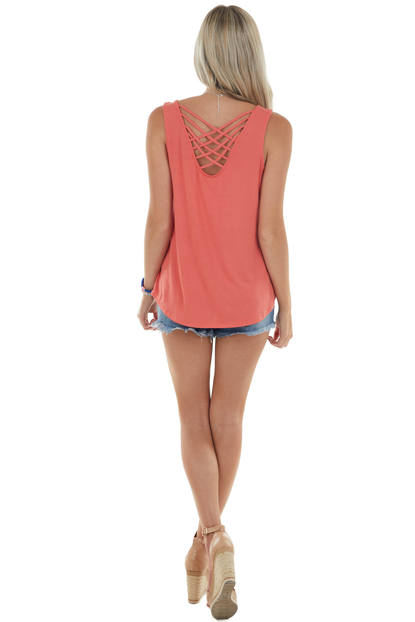 Coral Strappy Criss Cross Back Knit Tank Top