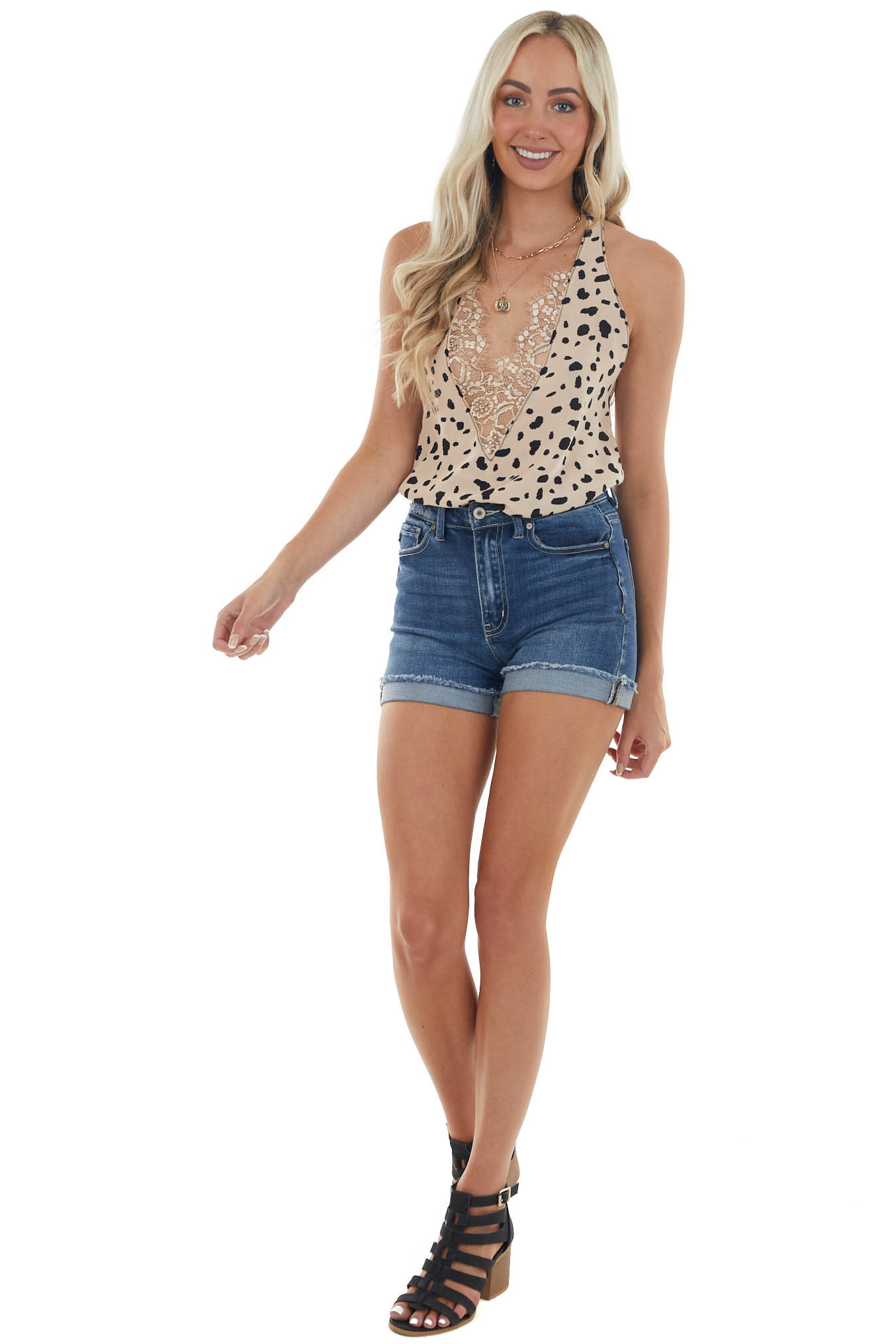 Sand Leopard Tank Top with Eyelash Lace Detail