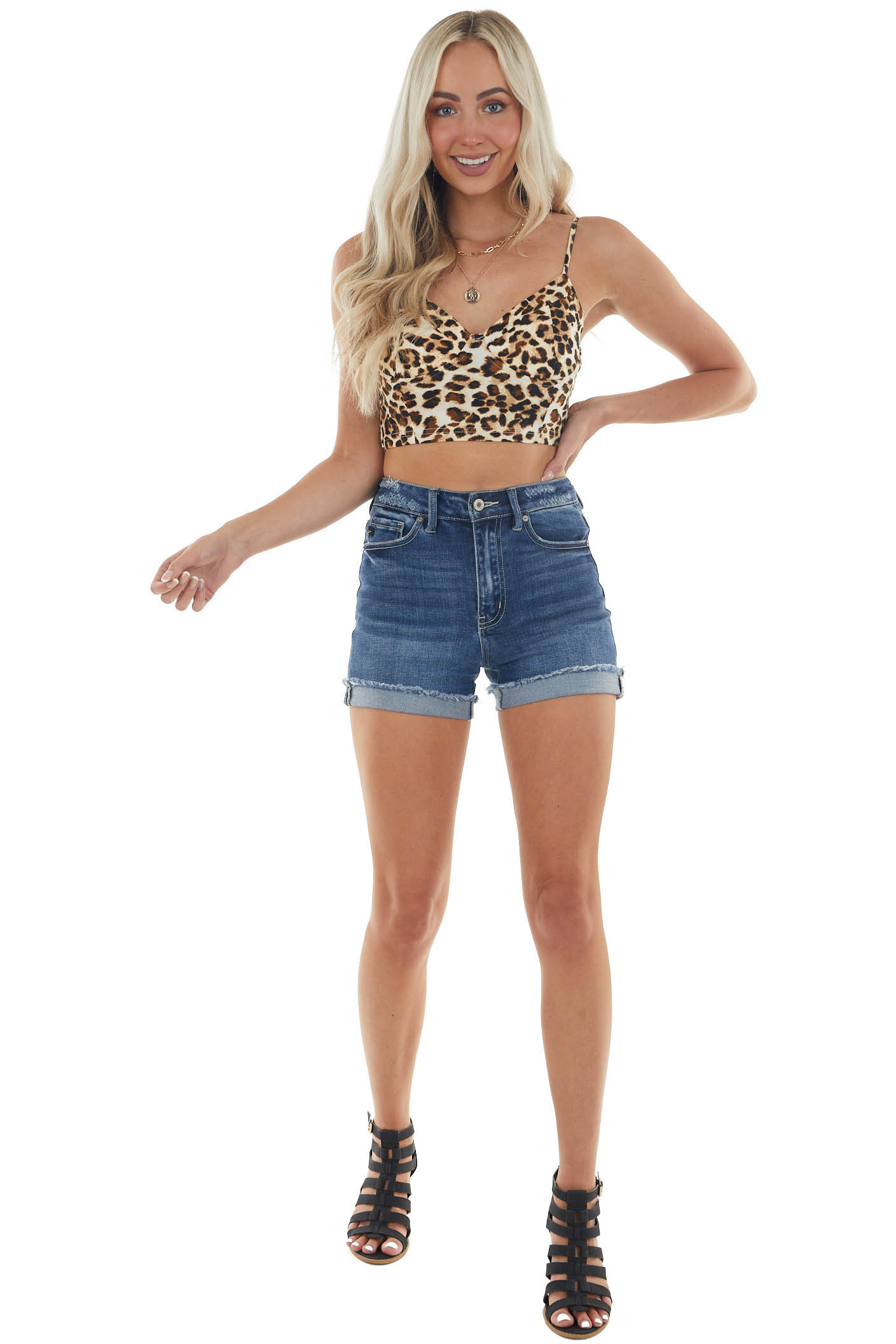 Sepia Leopard Print Wired Sleeveless Crop Top
