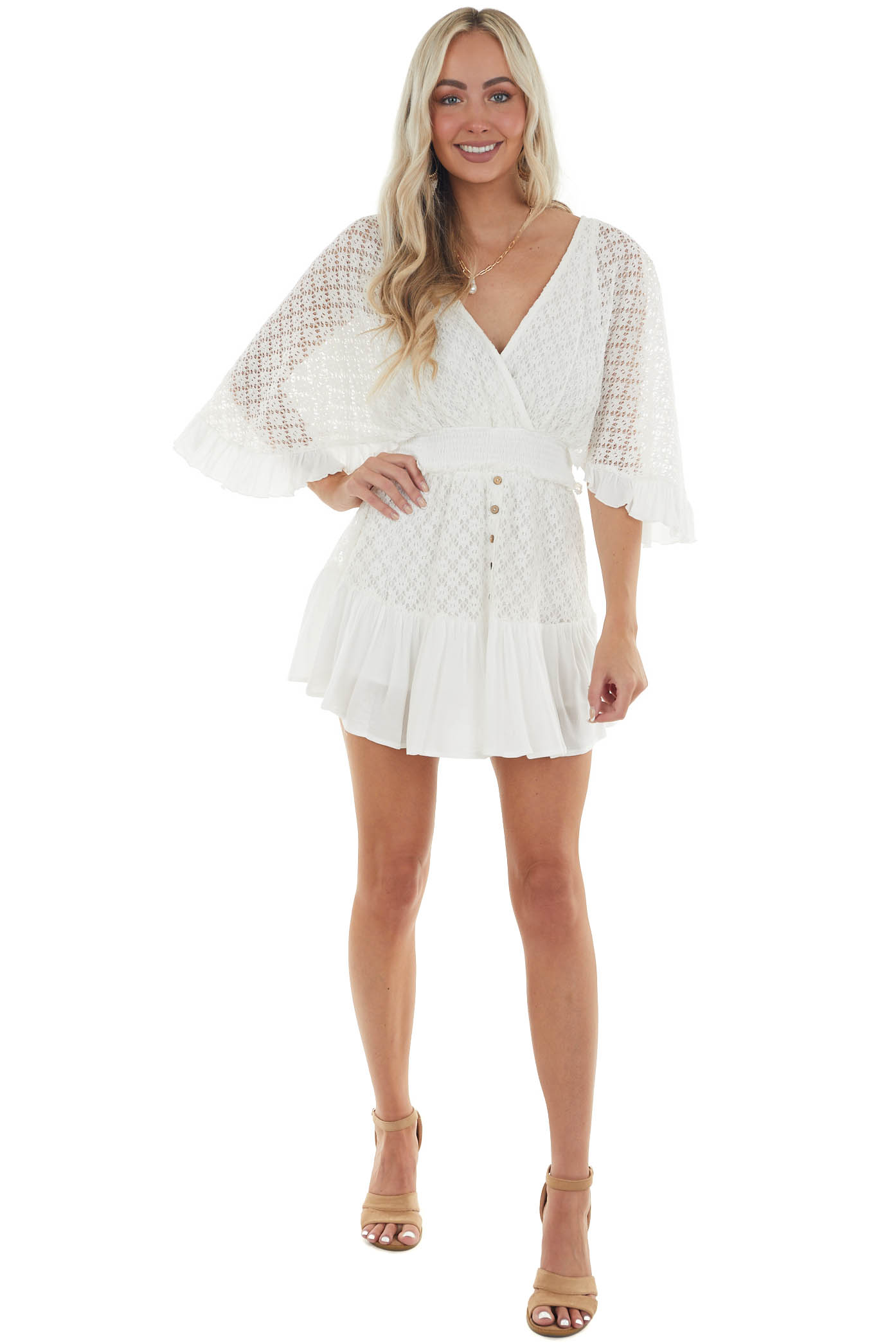 Ivory Lace Surplice Romper with Flowy Sleeves