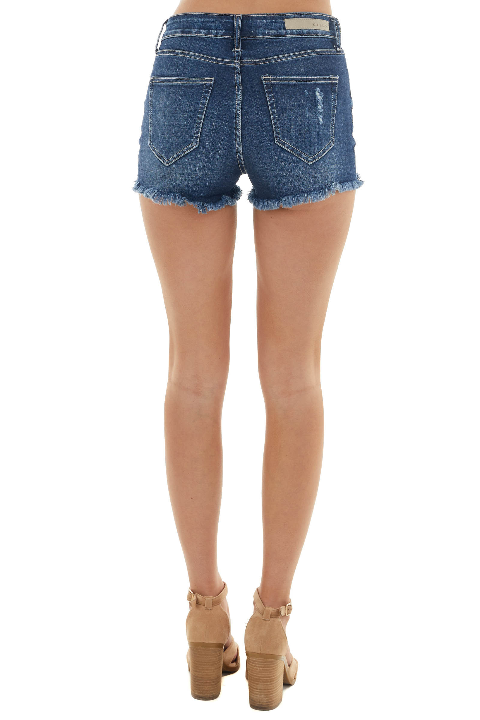 Dark Mid Rise Shorts with Distressed Detail