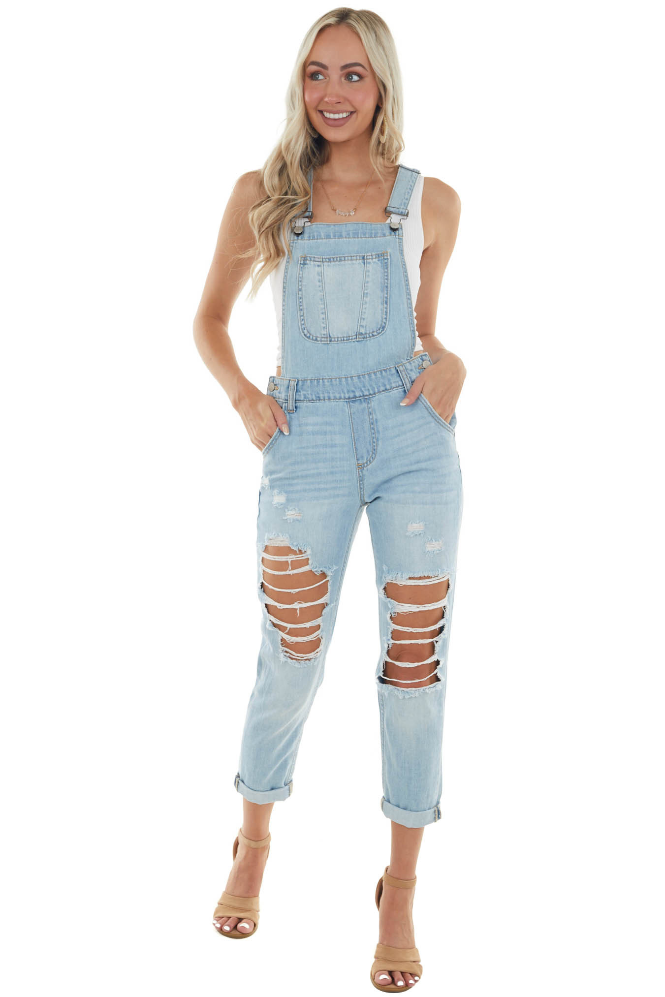 Light Wash Overalls with Distressed Details