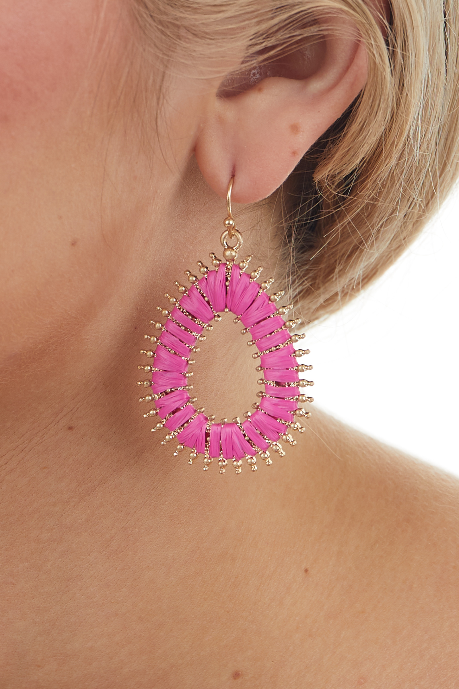 Mulberry and Gold Woven Teardrop Earrings