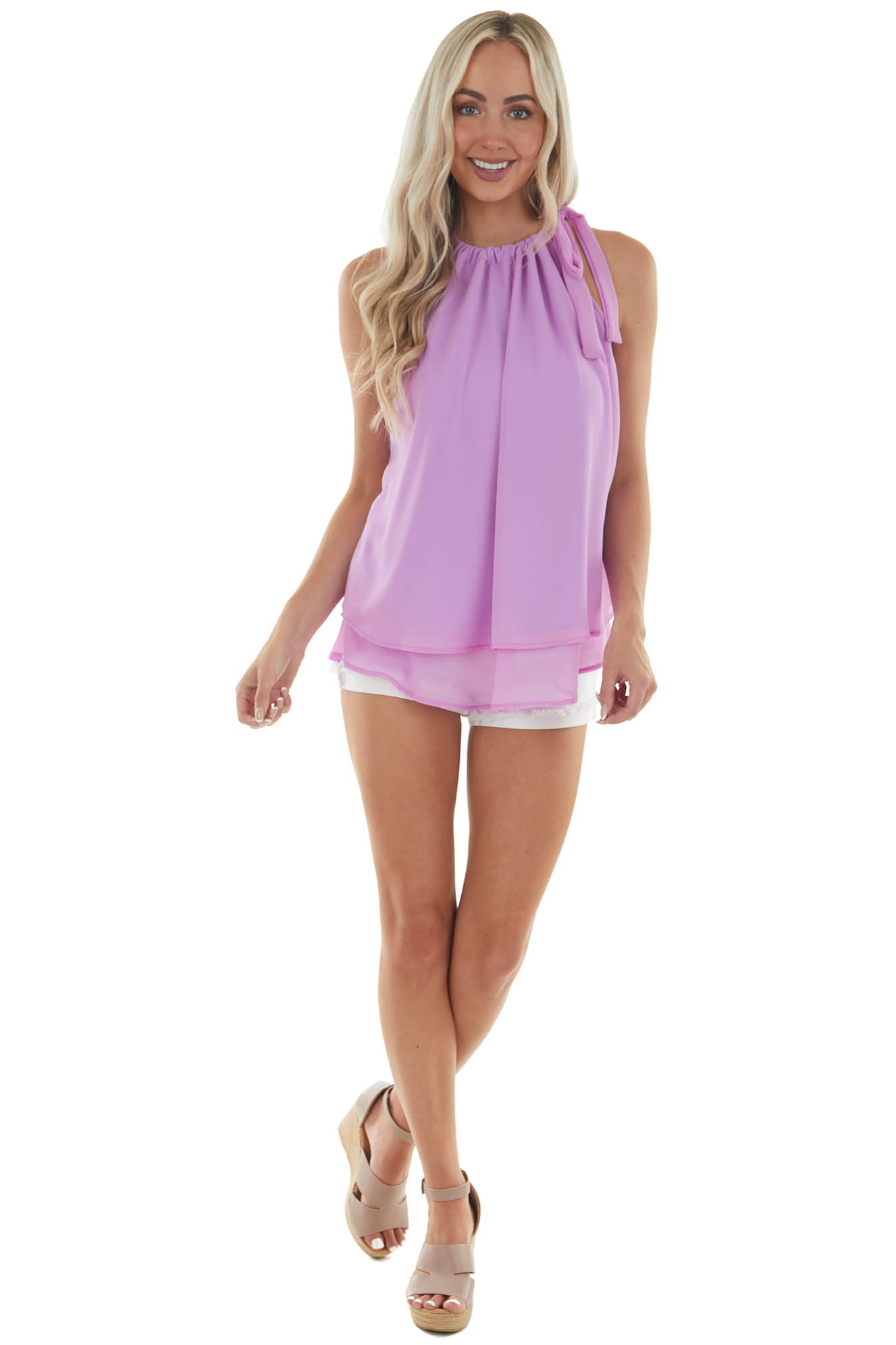 Rich Orchid Sleeveless Halter Neck Blouse