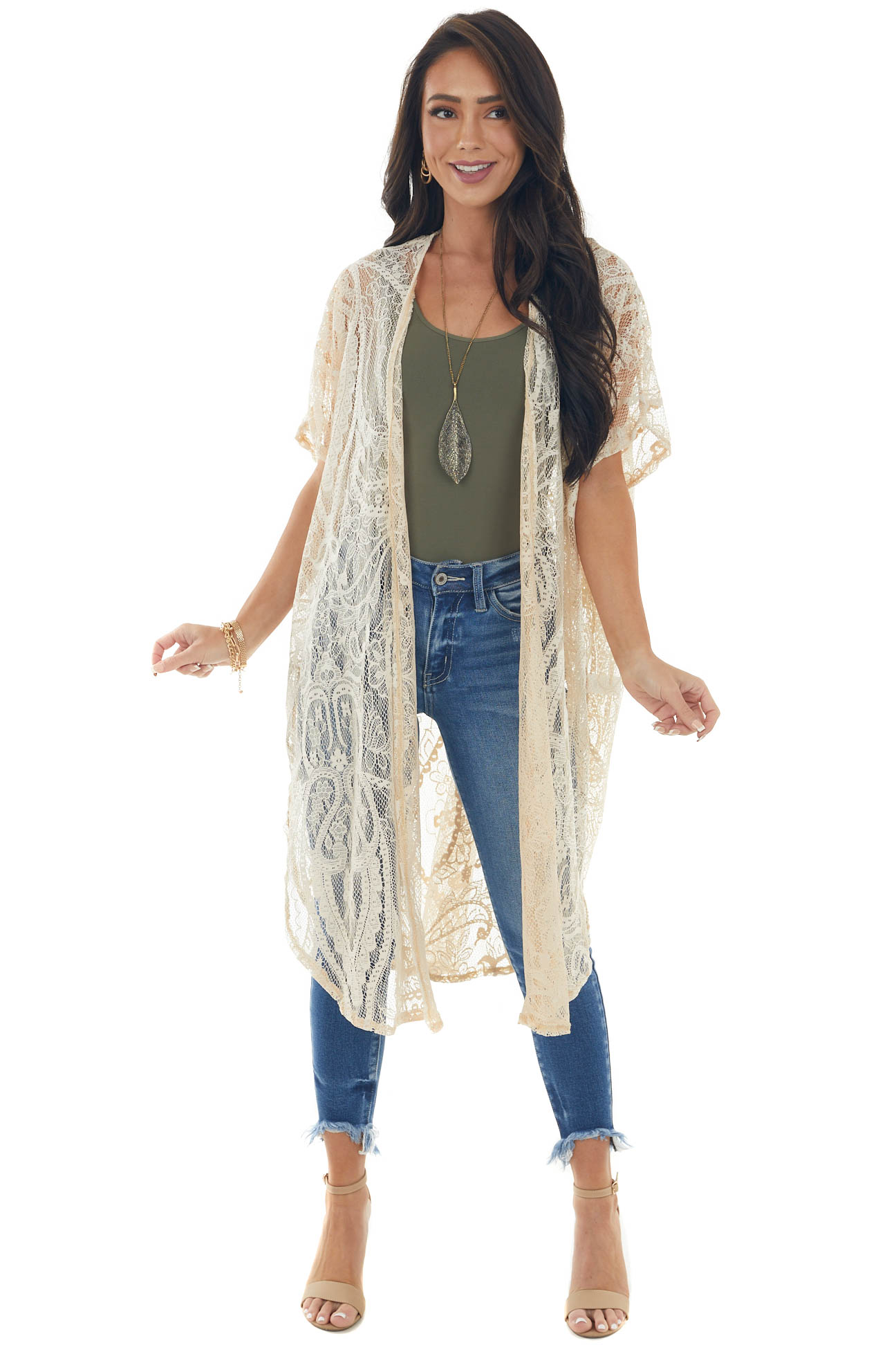 Rich Cream Floral Lace Sheer Duster Cardigan